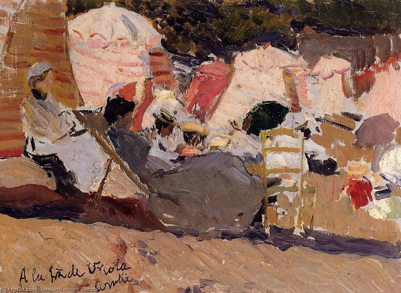 The Beach at Biarritz, Oil by Joaquin Sorolla Y Bastida (1863-1923, Spain)