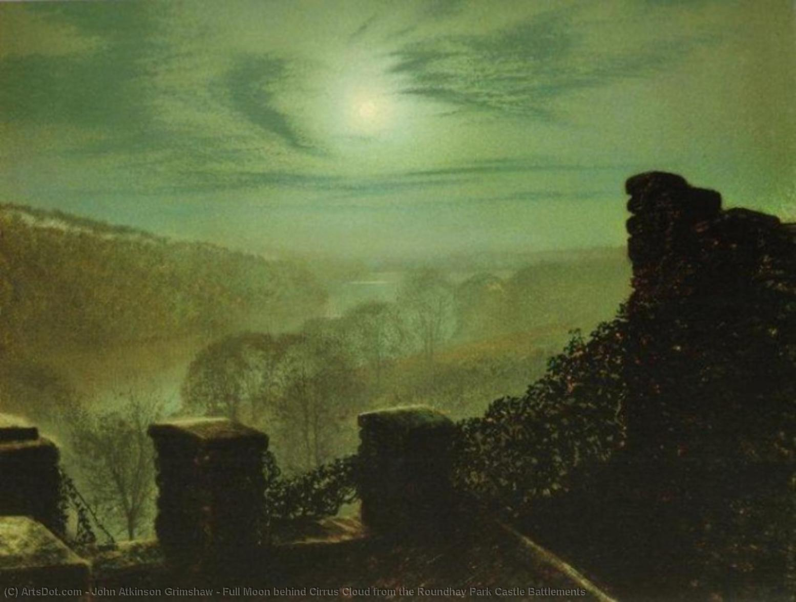 Full Moon behind Cirrus Cloud from the Roundhay Park Castle Battlements by John Atkinson Grimshaw (1836-1893, United Kingdom) | Museum Art Reproductions | ArtsDot.com