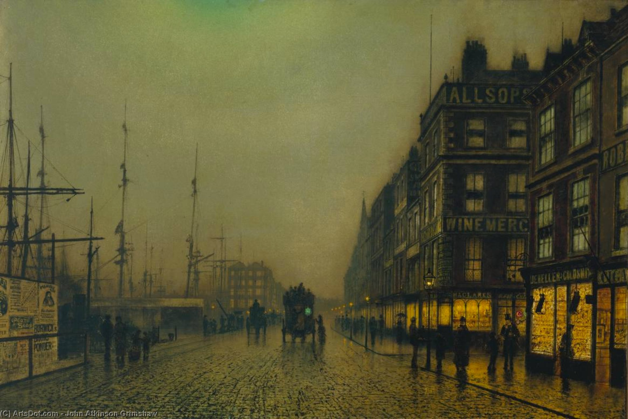 Liverpool Quay by Moonlight, Oil On Panel by John Atkinson Grimshaw (1836-1893, United Kingdom)