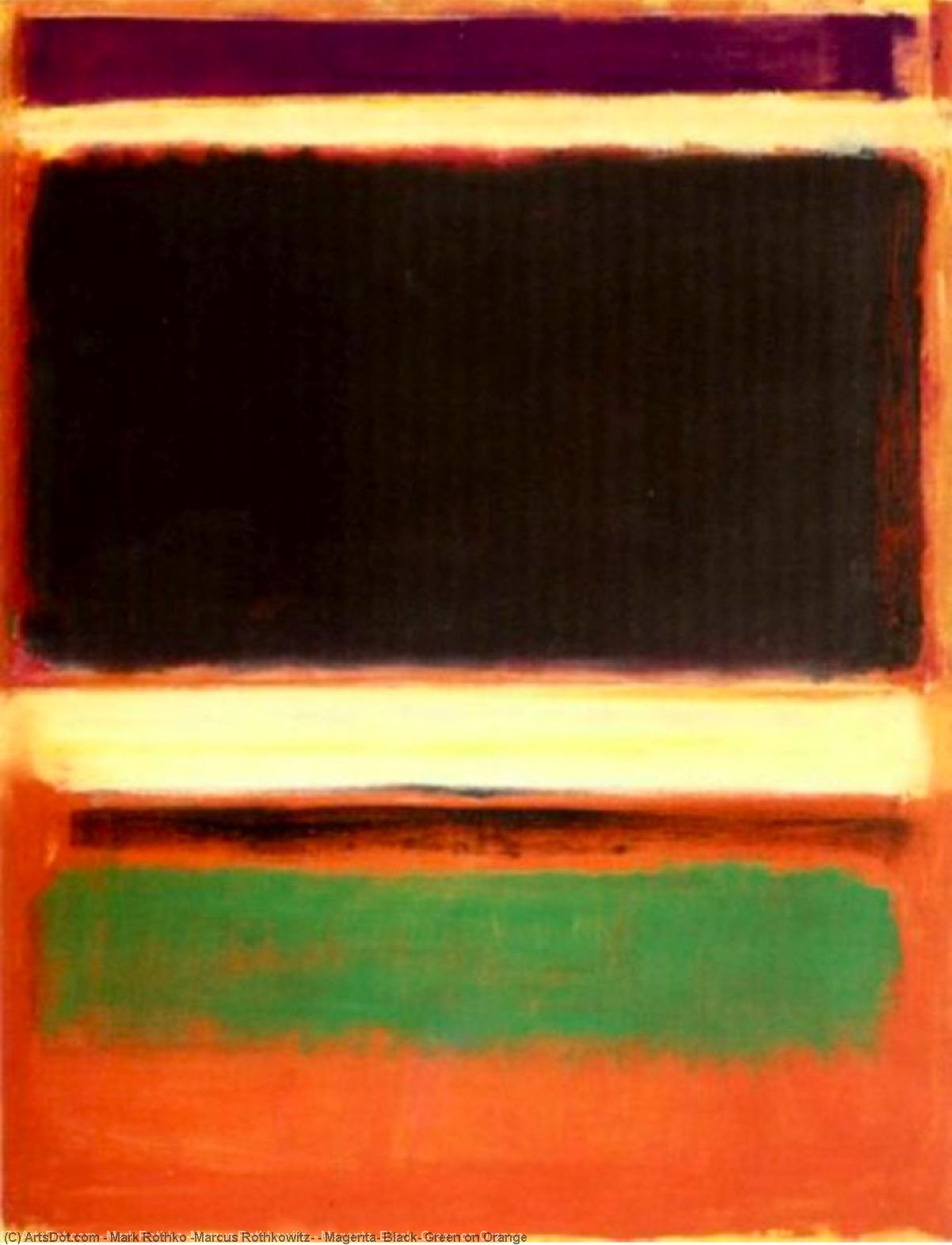Magenta, Black, Green on Orange by Mark Rothko (Marcus Rothkowitz) (1903-1970, Latvia) |  | ArtsDot.com