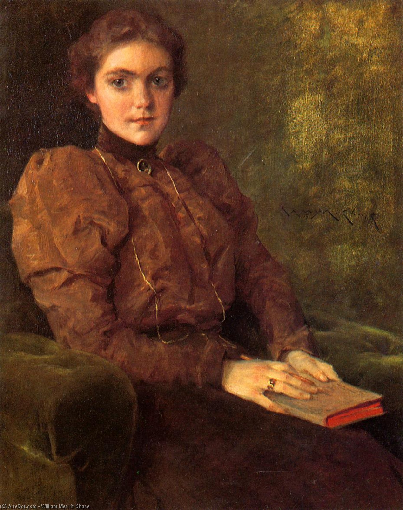 A Lady in Brown, Oil On Canvas by William Merritt Chase (1849-1916, United States)