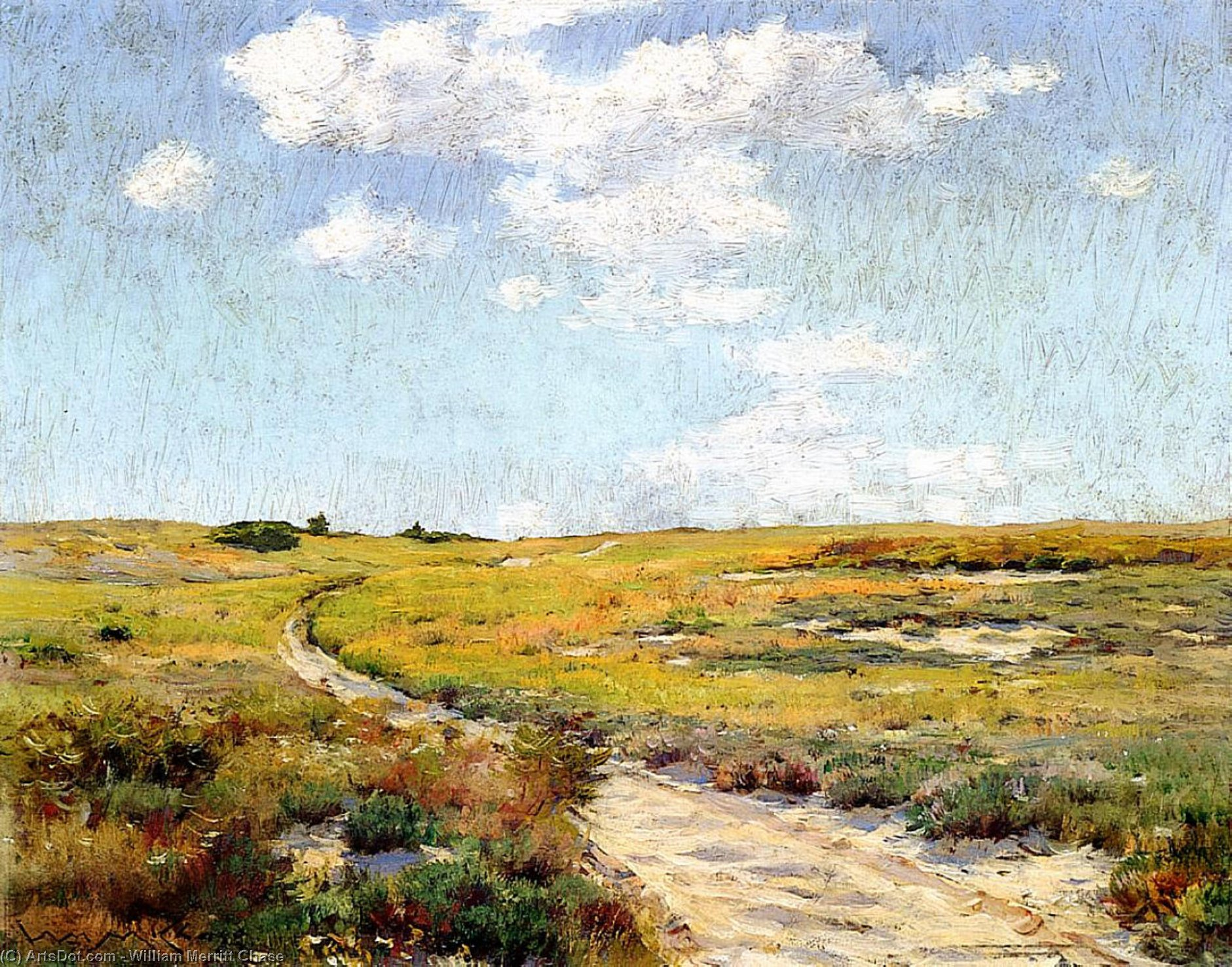 A Sunny Afternoon, Shinnecock Hills, Oil On Panel by William Merritt Chase (1849-1916, United States)