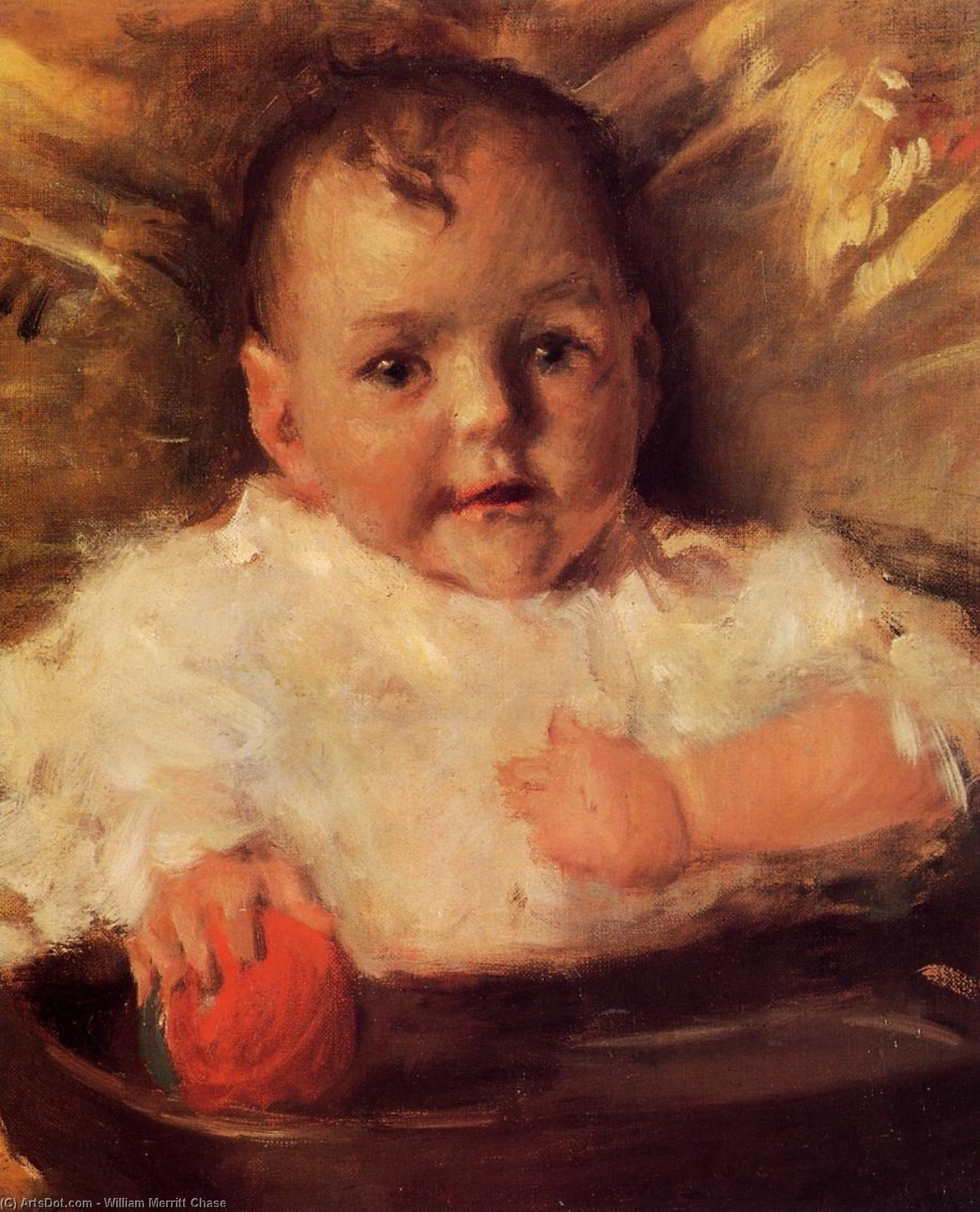 Bobbie, A Portrait Sketch, Oil On Canvas by William Merritt Chase (1849-1916, United States)