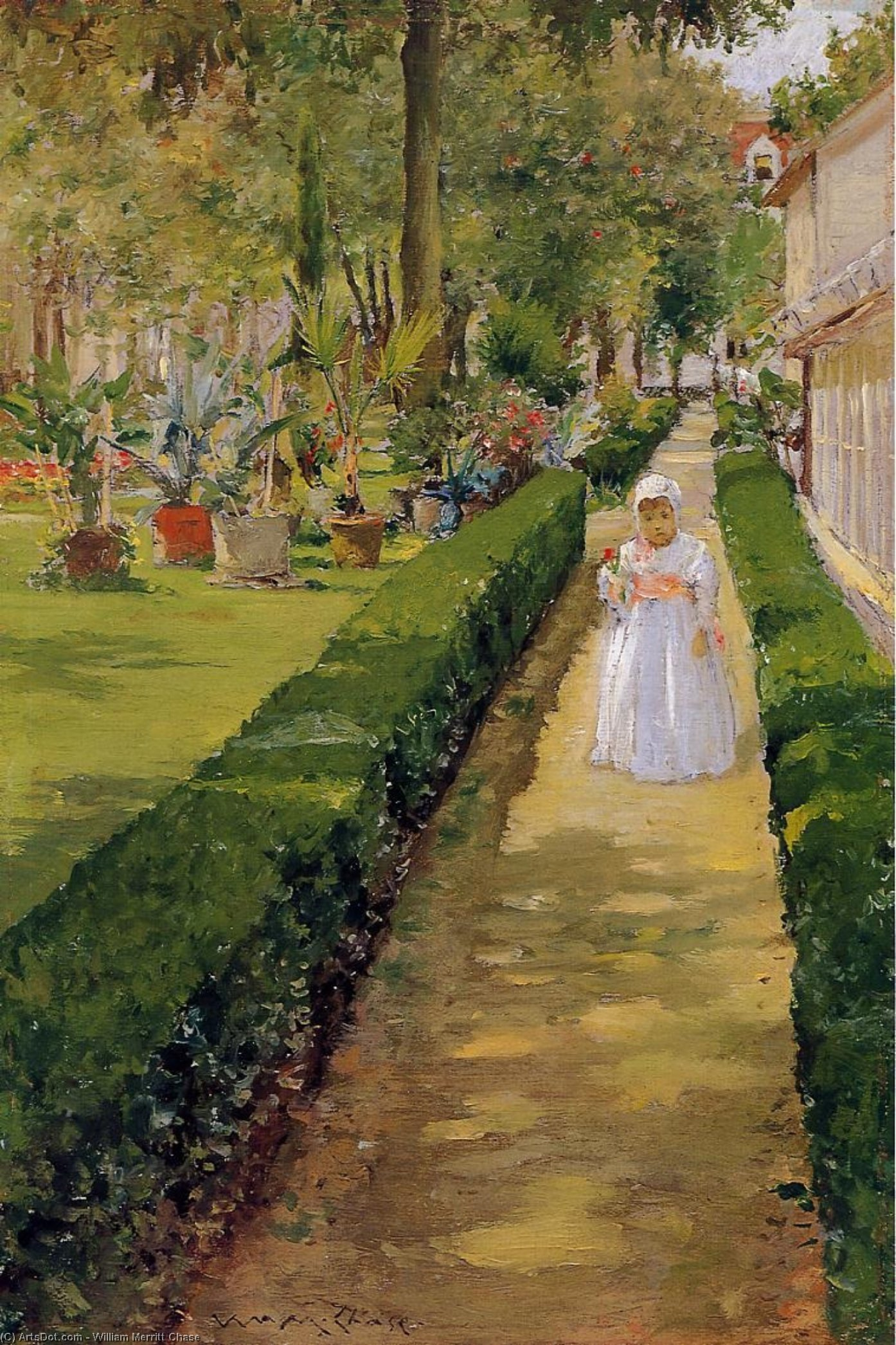Child on a Garden Walk, Oil On Panel by William Merritt Chase (1849-1916, United States)