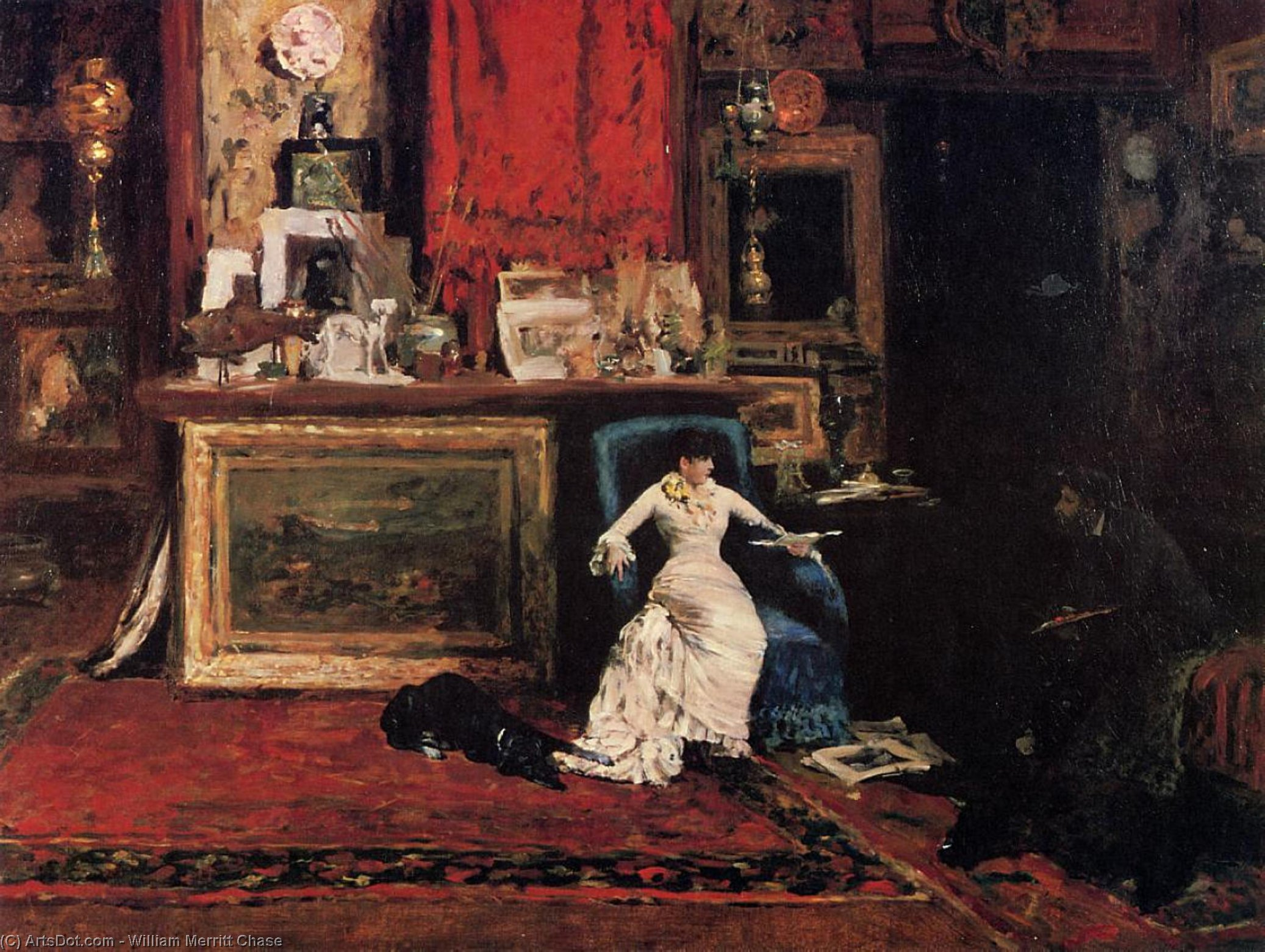 Interior of the Artist's Studio aka The Tenth Street, Oil by William Merritt Chase (1849-1916, United States)