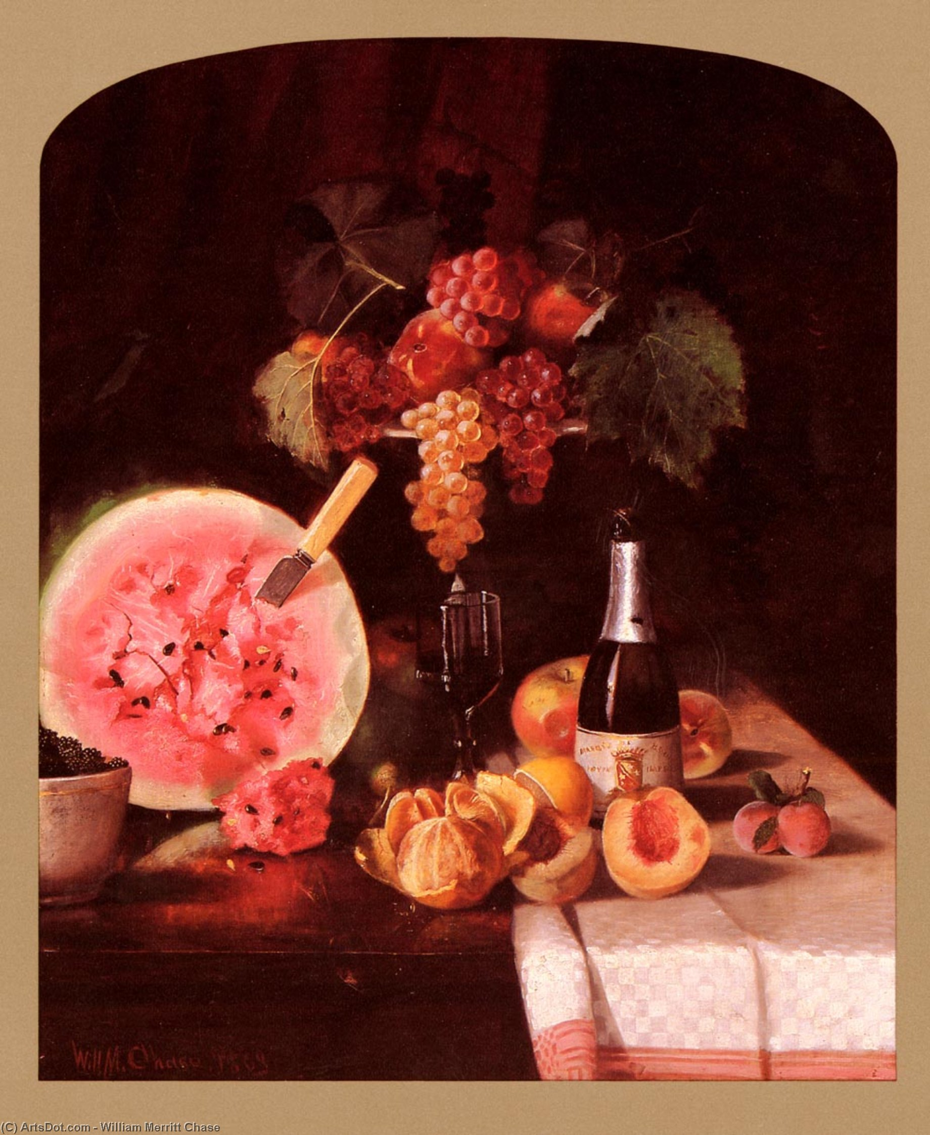Still Life With Watermelon, Oil On Canvas by William Merritt Chase (1849-1916, United States)