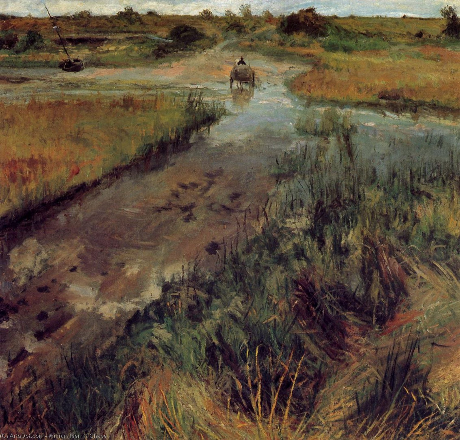 Swollen Stream at Shinnecock, Oil On Canvas by William Merritt Chase (1849-1916, United States)