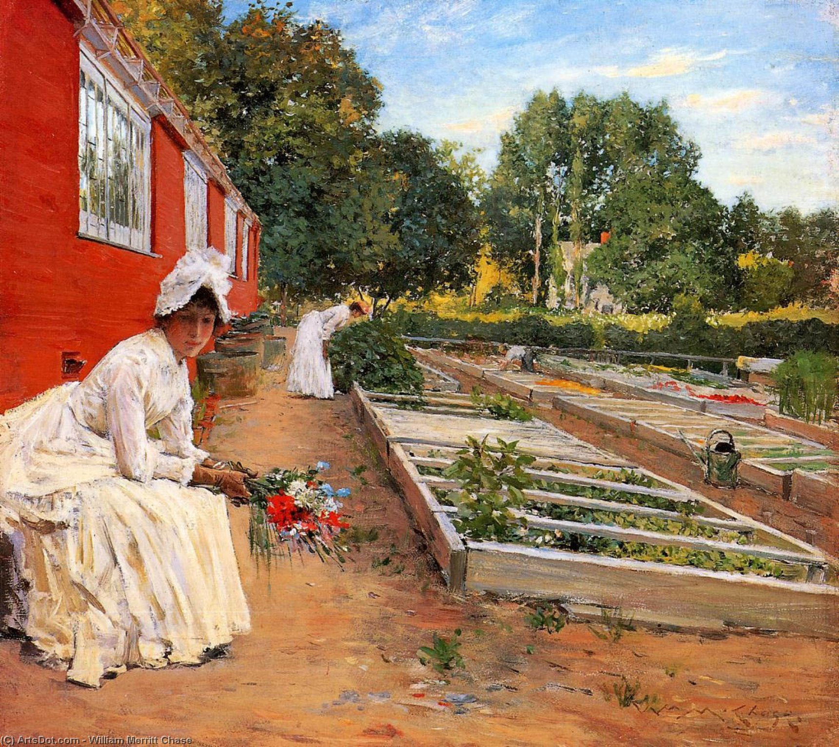 The Nursery, Oil On Panel by William Merritt Chase (1849-1916, United States)