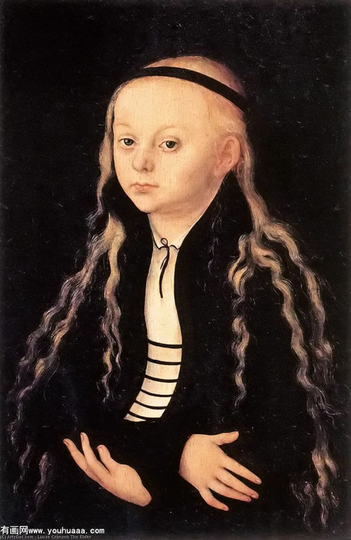 Portrait of a Young Girl, Oil On Panel by Lucas Cranach The Elder (1472-1553, Germany)