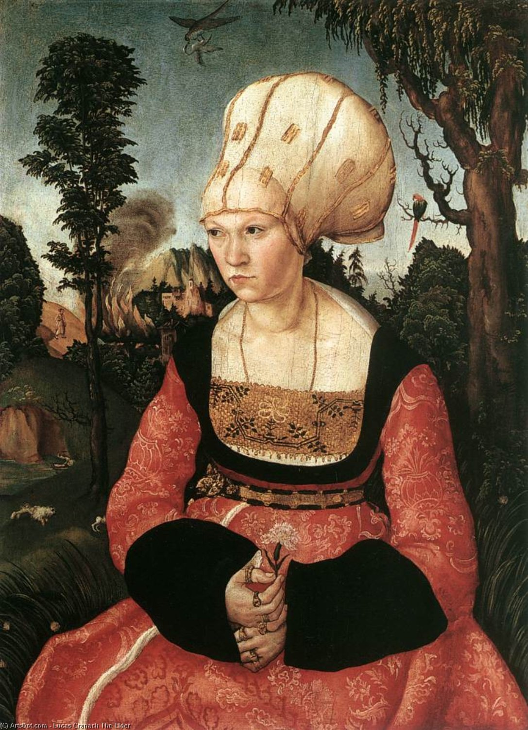 Portrait of Anna Cuspinian, Oil On Panel by Lucas Cranach The Elder (1472-1553, Germany)