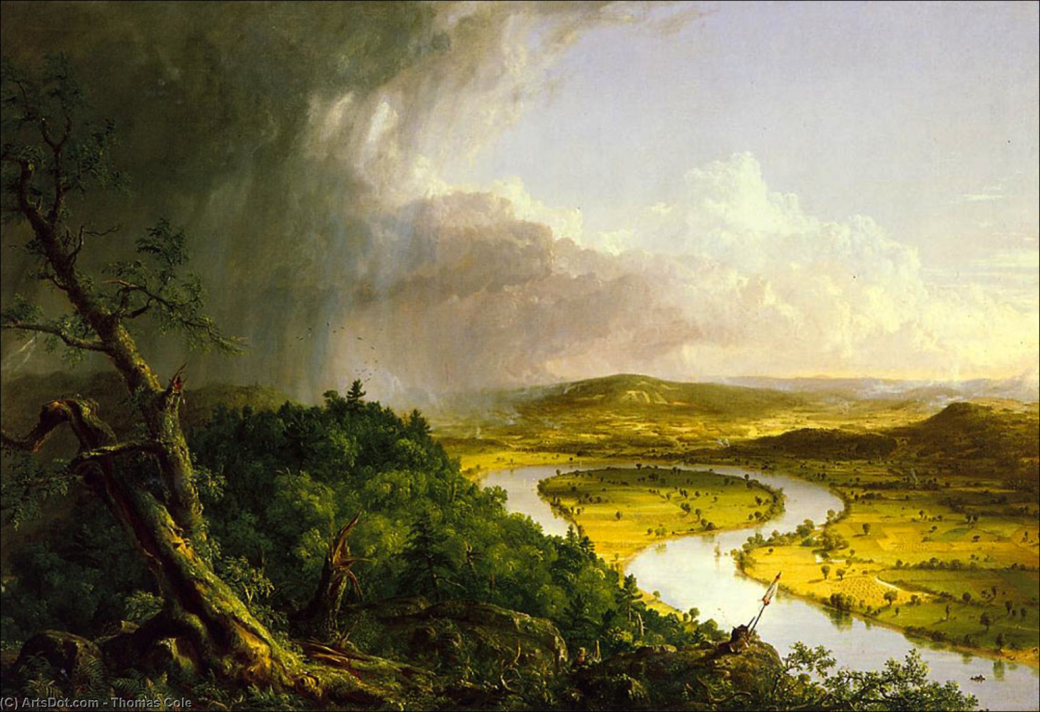 The Oxbow, Oil by Thomas Cole (1801-1848, United Kingdom)