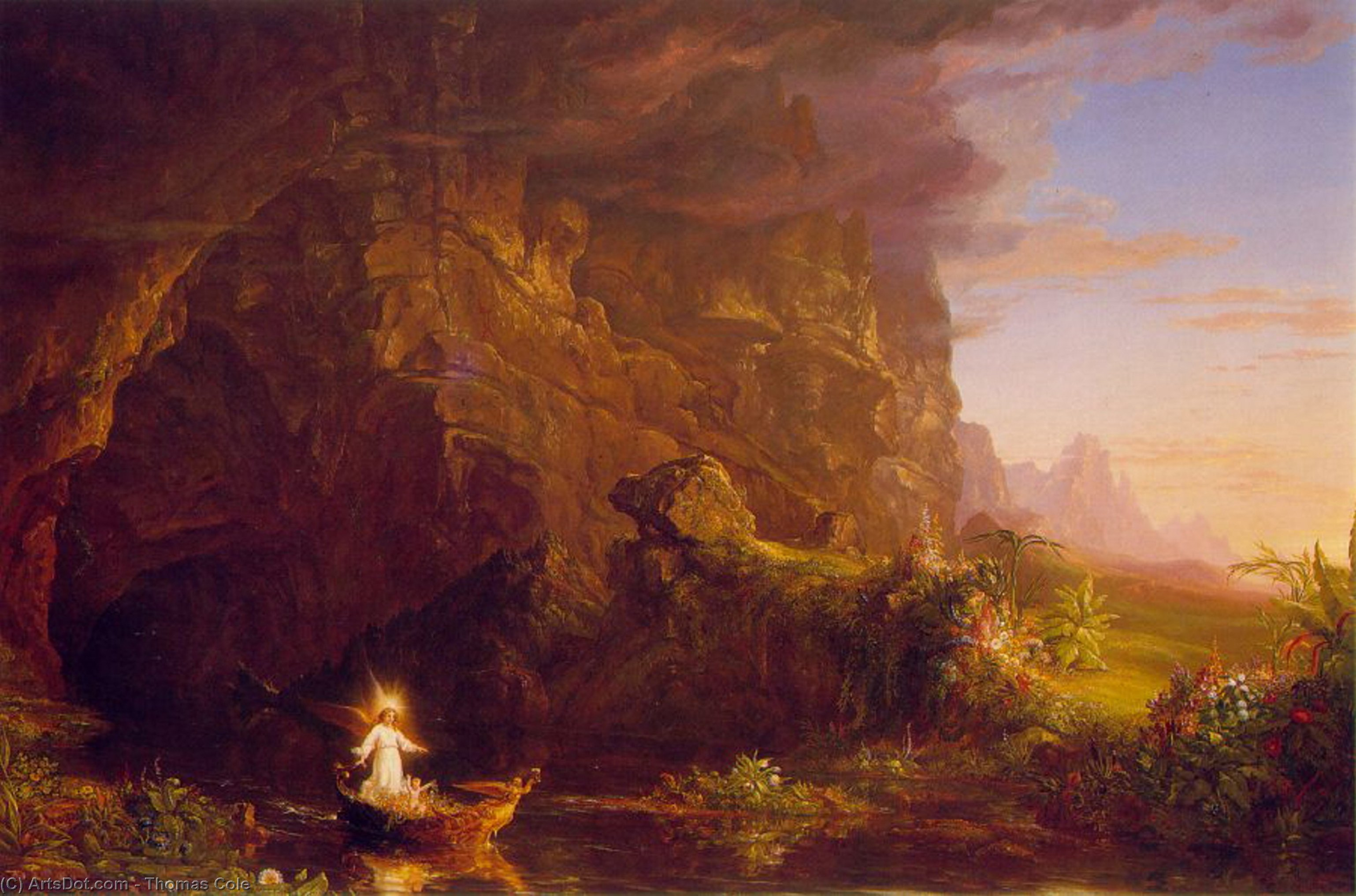 The Voyage of Life, Childhood, Oil by Thomas Cole (1801-1848, United Kingdom)