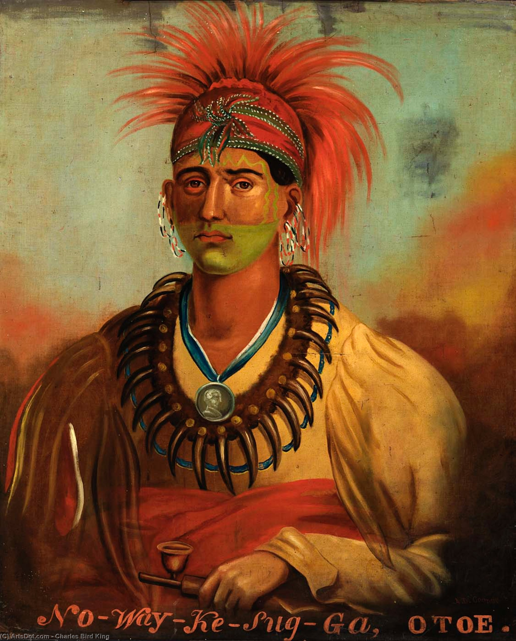 No-way-ke-sug-ga, Oil by Charles Bird King (1785-1862, United States)
