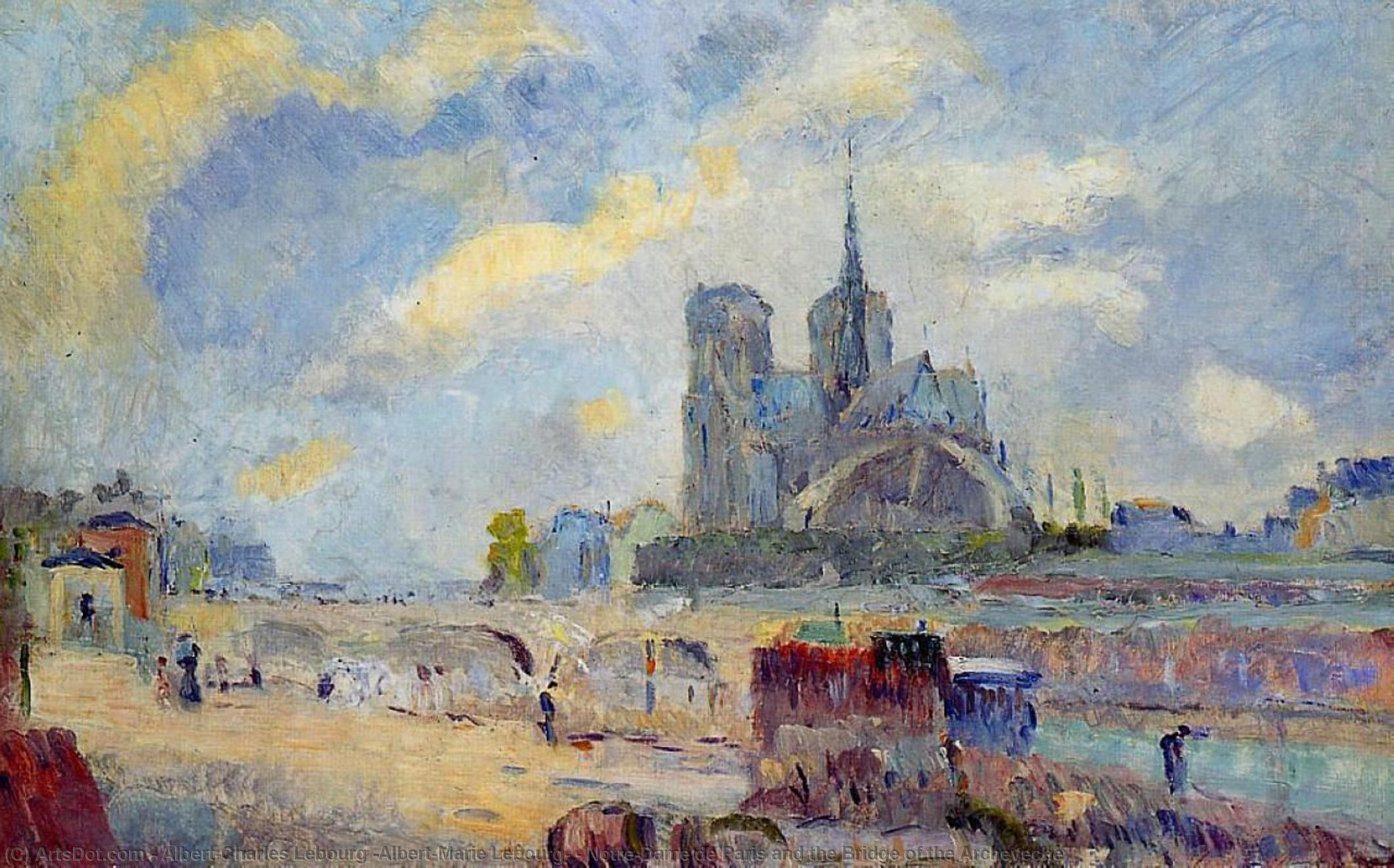 Notre-Dame de Paris and the Bridge of the Archeveche by Albert-Charles Lebourg (Albert-Marie Lebourg) (1849-1928, France) | Reproductions Albert-Charles Lebourg (Albert-Marie Lebourg) | ArtsDot.com
