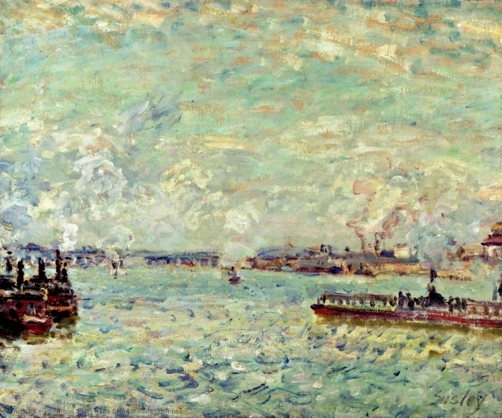 The Seine at Point du Jour, 1878 by Alfred Sisley (1839-1899, France) | Art Reproduction | ArtsDot.com