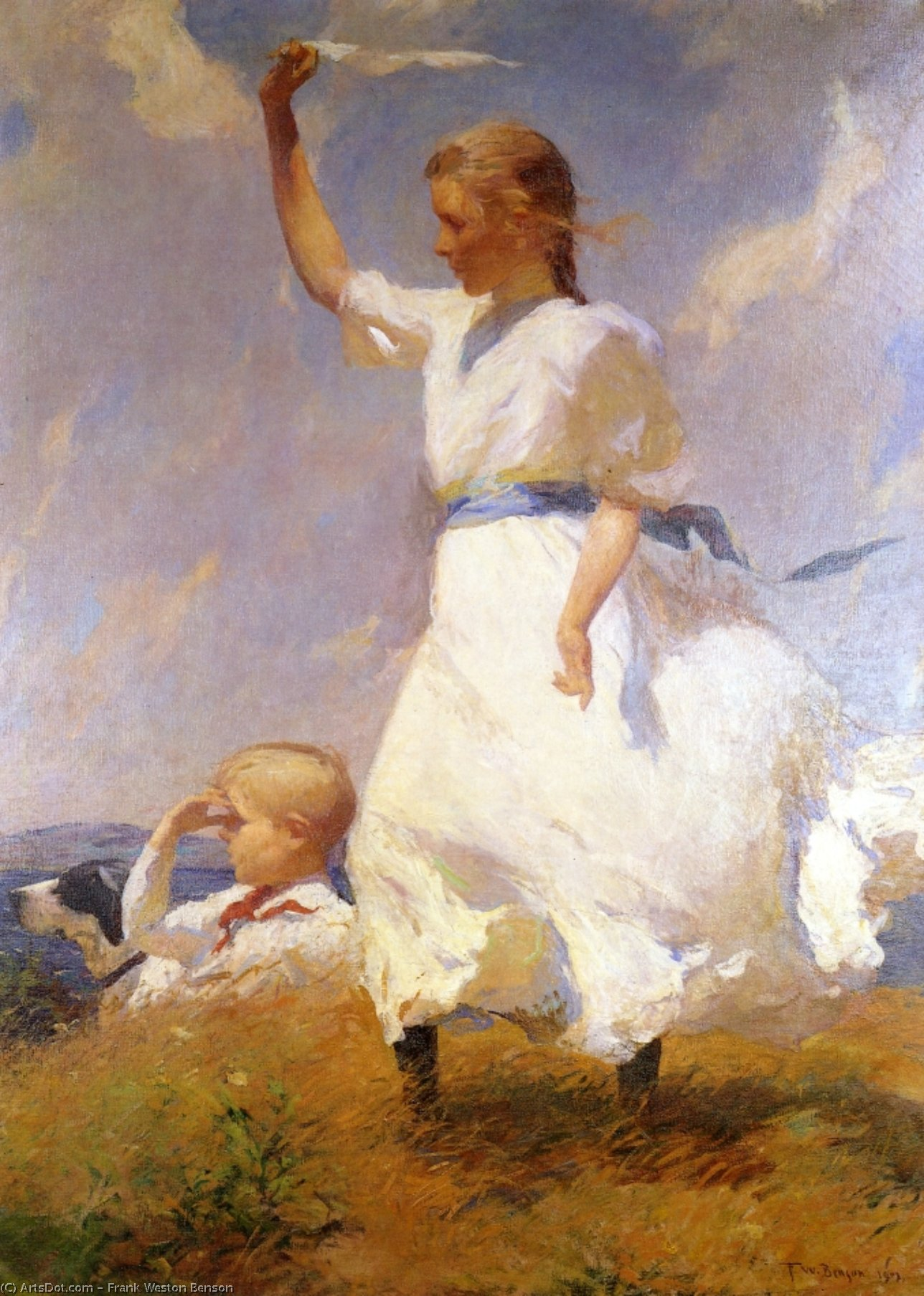 The Hilltop, Oil by Frank Weston Benson (1862-1951, United States)