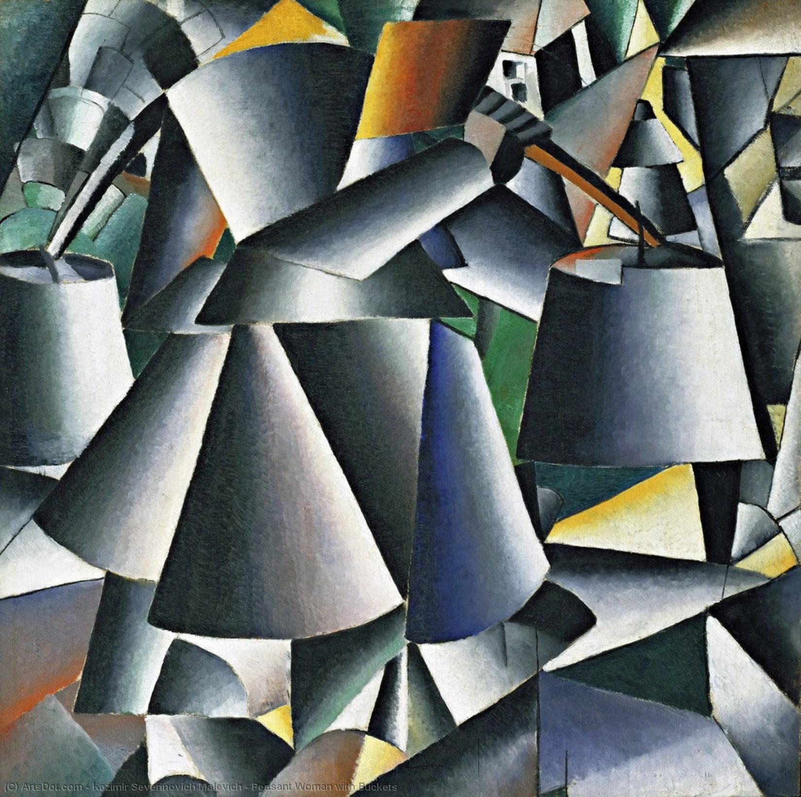 Peasant Woman with Buckets by Kazimir Severinovich Malevich (1879-1935, Ukraine) | Museum Quality Reproductions | ArtsDot.com