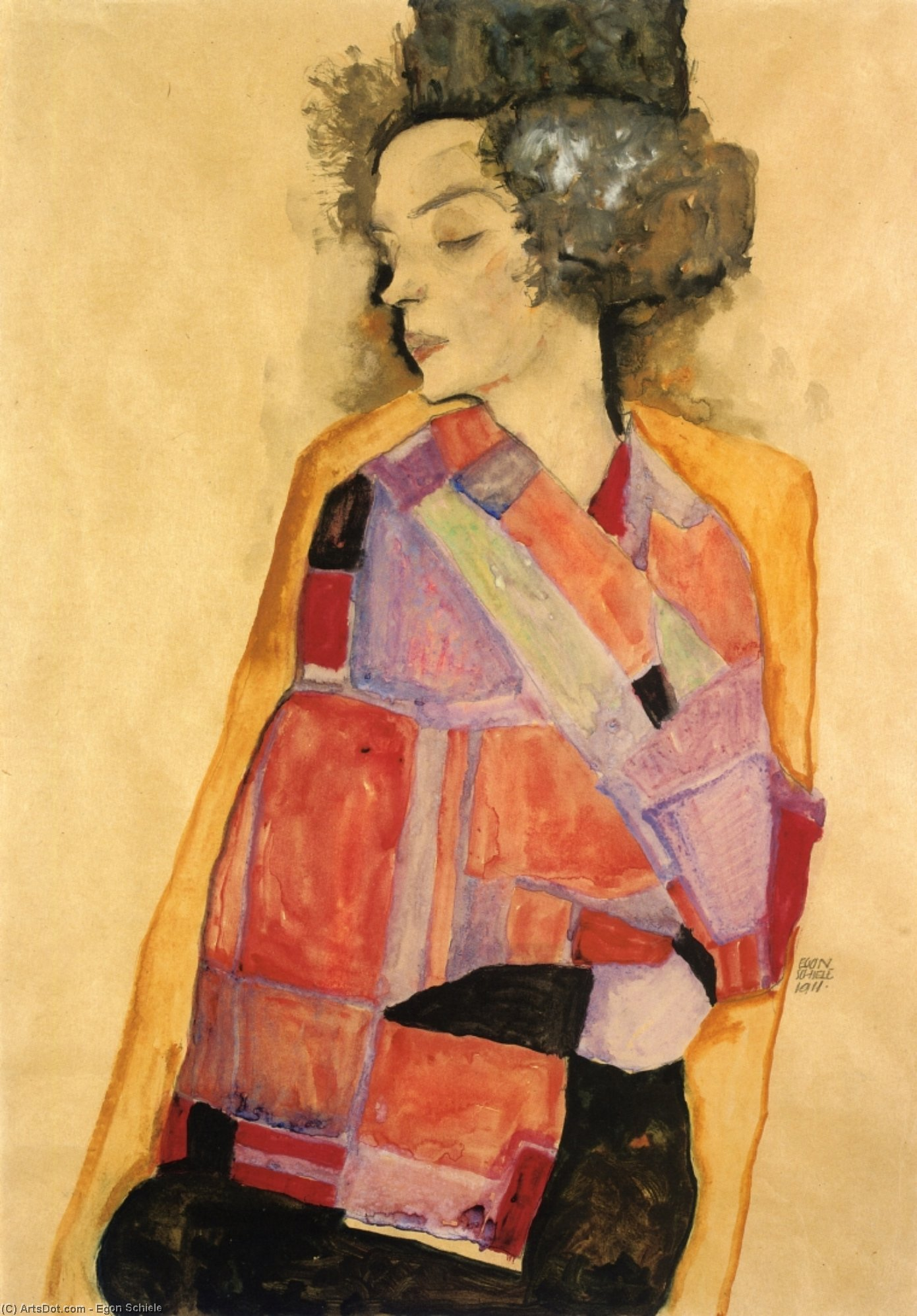 The Daydreamer (Gerti Schiele), 1911 by Egon Schiele (1890-1918, Croatia) | Museum Quality Reproductions | ArtsDot.com