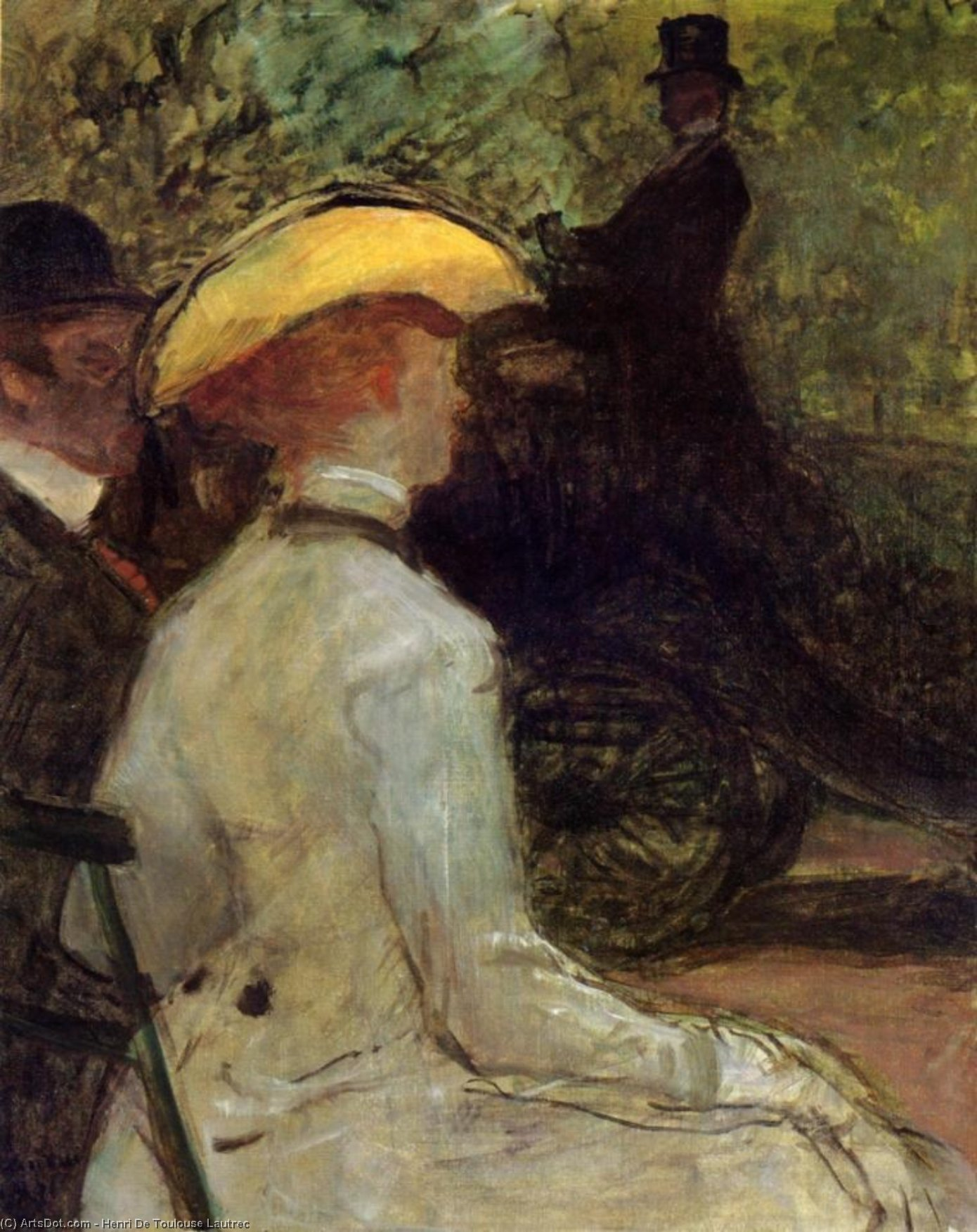 In the Bois de Boulogne, Oil On Canvas by Henri De Toulouse Lautrec (1864-1901, France)
