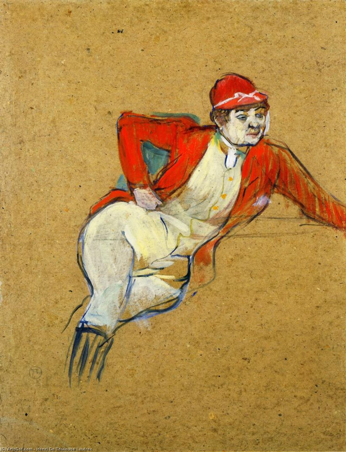 La Macarona in Riding Habit, Oil by Henri De Toulouse Lautrec (1864-1901, France)