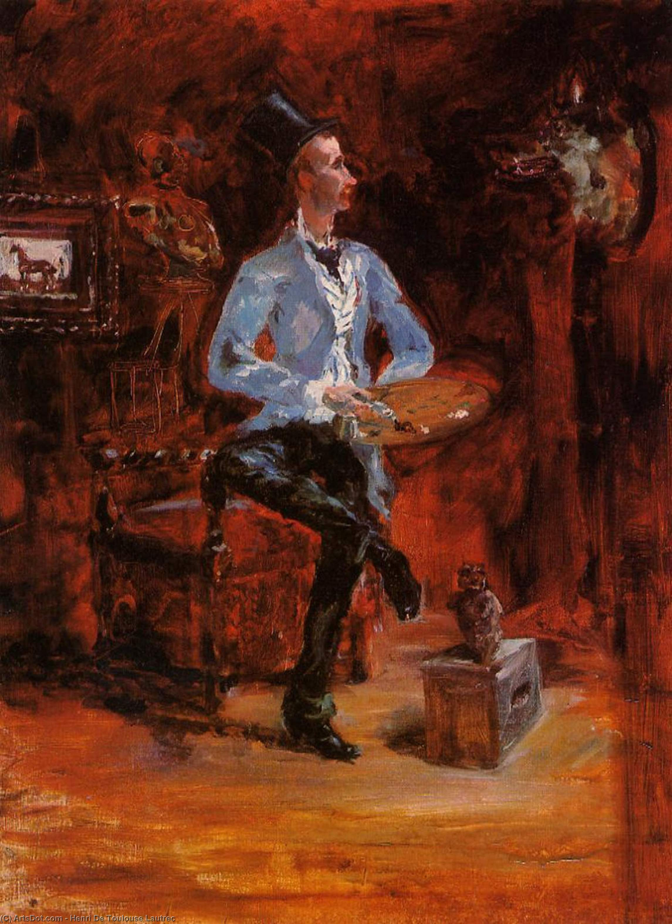 Princeteau in His Studio 1, Oil by Henri De Toulouse Lautrec (1864-1901, France)