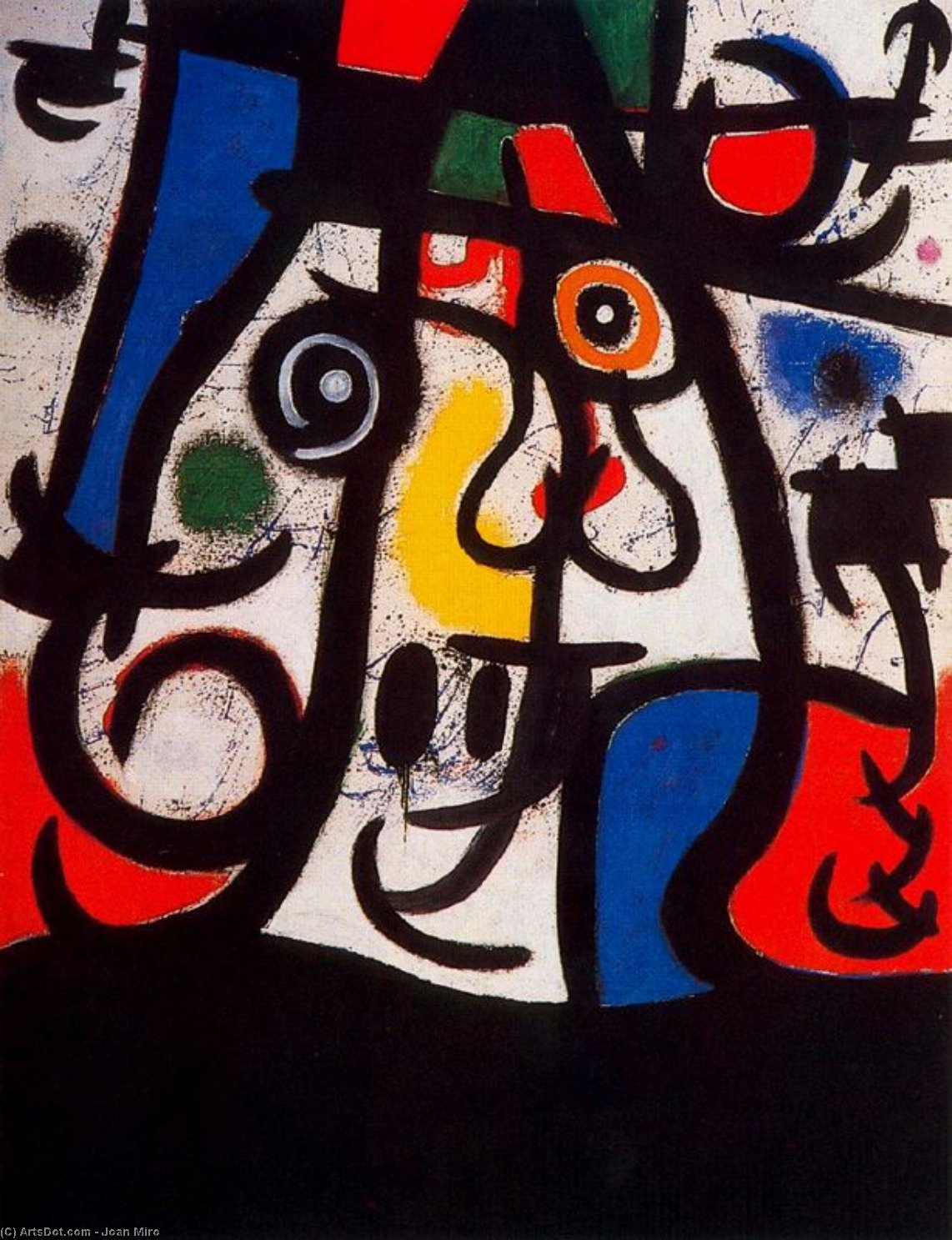 Dona i ocells, Oil by Joan Miro (1893-1937, Spain)
