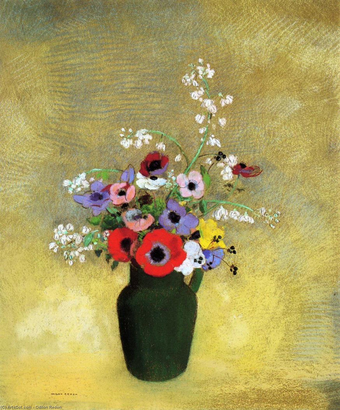 Flowers in a Green Pitcher by Odilon Redon (1840-1916, France) | Museum Art Reproductions | ArtsDot.com