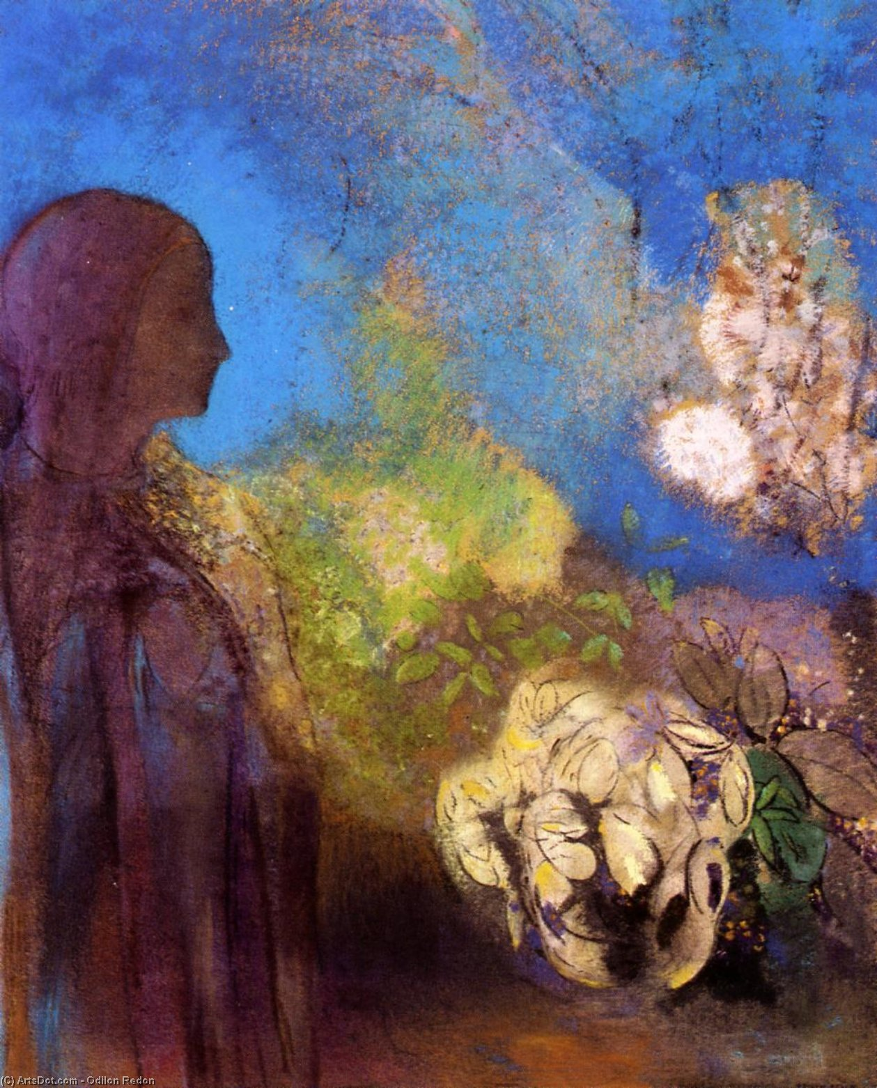 Girl with Chrysanthemums, 1905 by Odilon Redon (1840-1916, France) | Oil Painting | ArtsDot.com