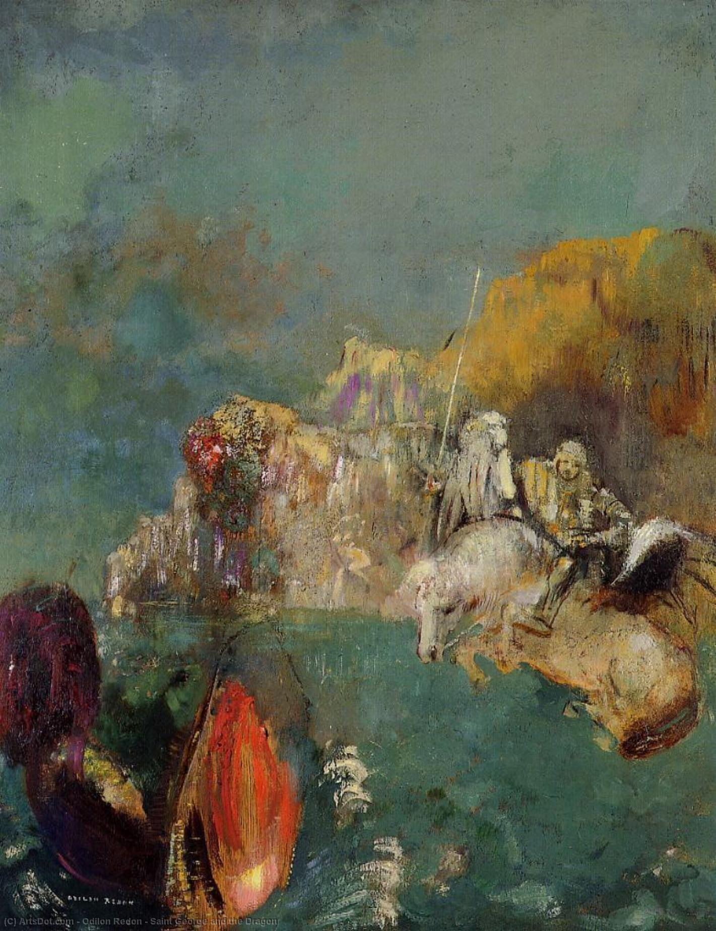 Saint George and the Dragon, 1909 by Odilon Redon (1840-1916, France) | Oil Painting | ArtsDot.com