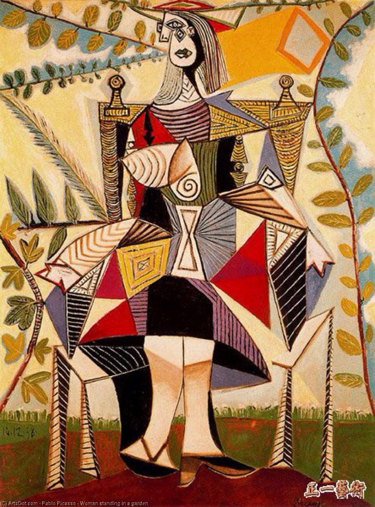 Order Paintings Reproductions | Woman standing in a garden by Pablo Picasso (1881-1973, Spain) | ArtsDot.com