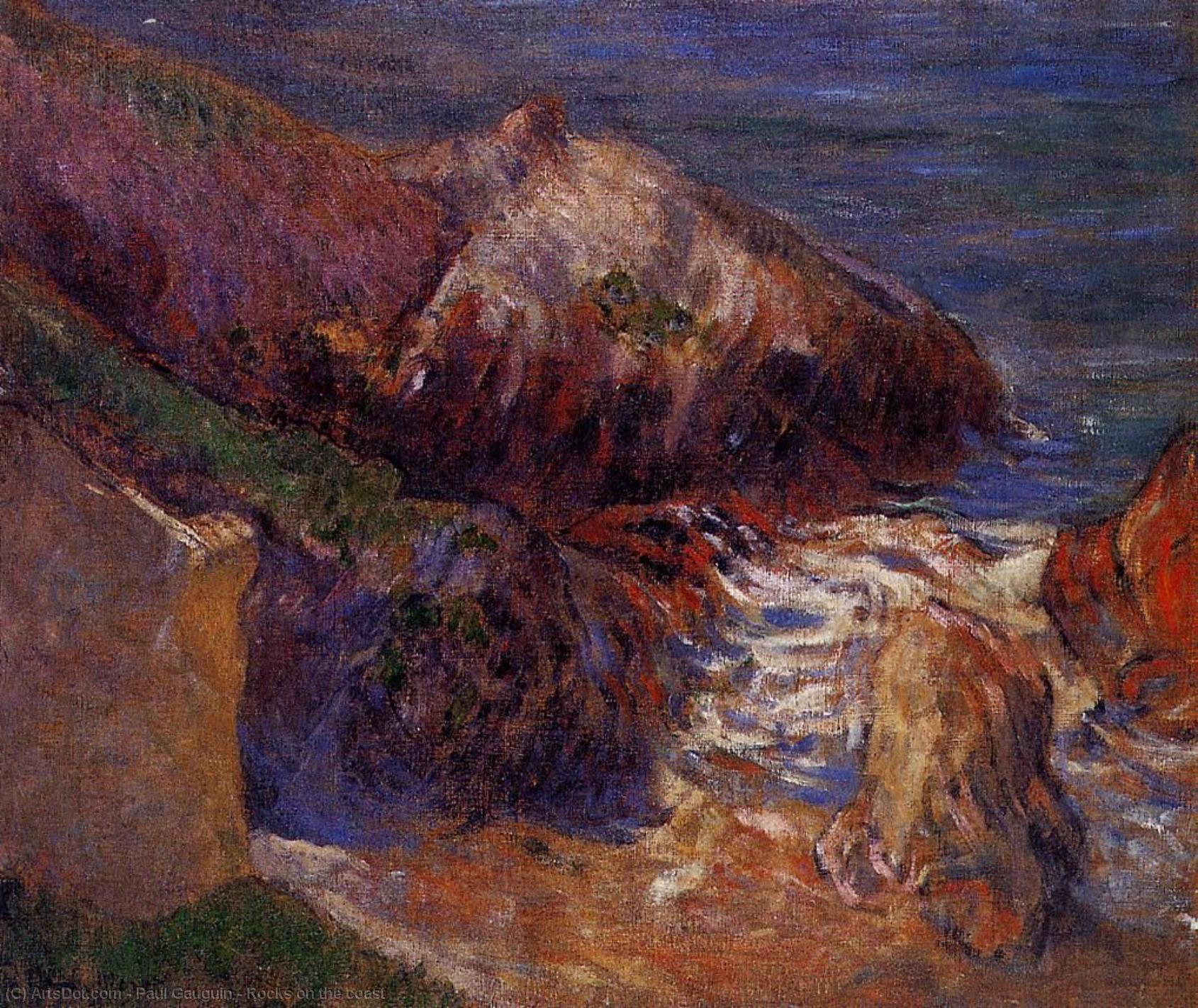 Order Art Reproductions | Rocks on the coast, 1889 by Paul Gauguin (1848-1903, France) | ArtsDot.com