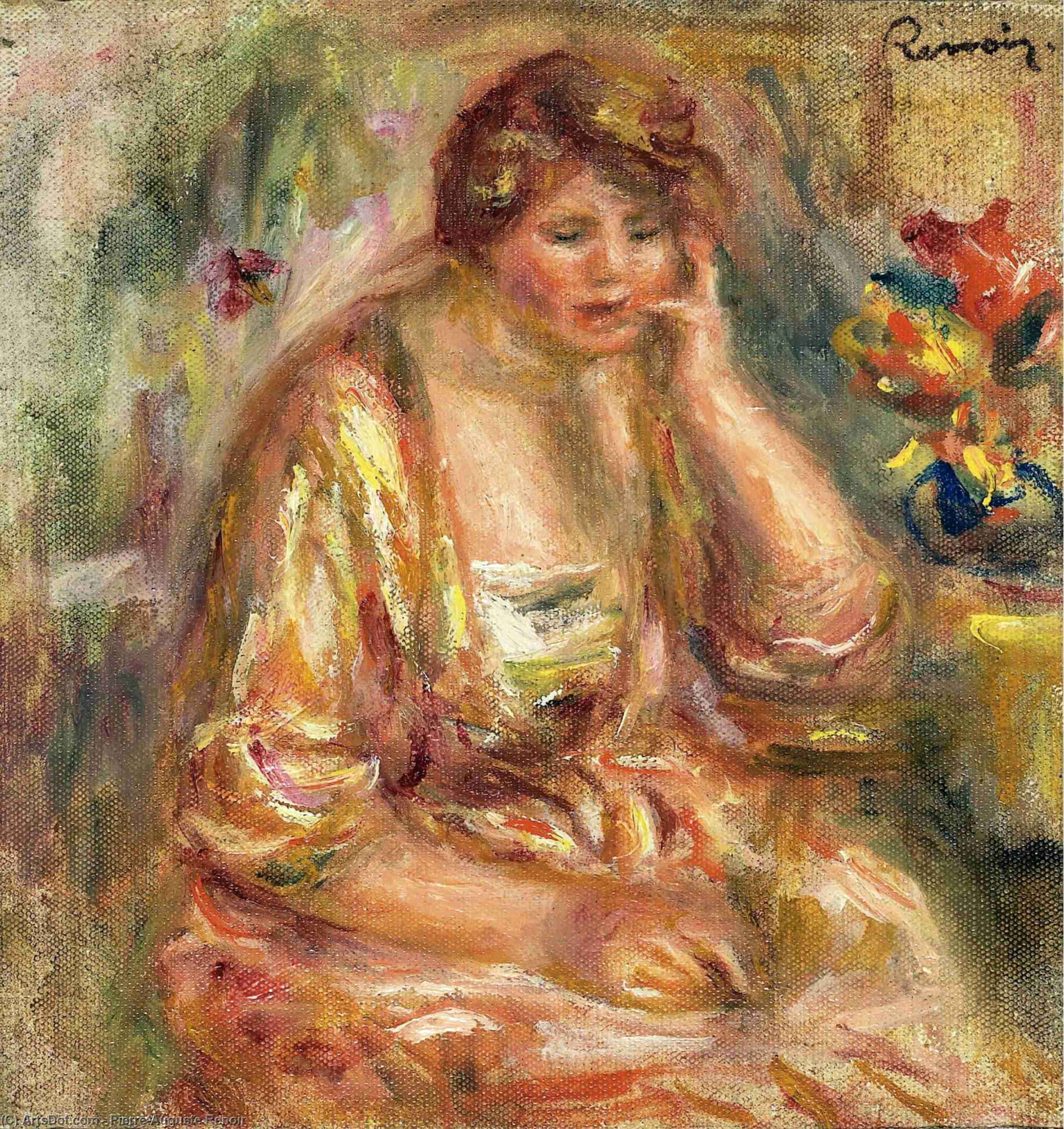 Order Paintings Reproductions | Andree in a Pink Dress, 1917 by Pierre-Auguste Renoir (1841-1919, France) | ArtsDot.com