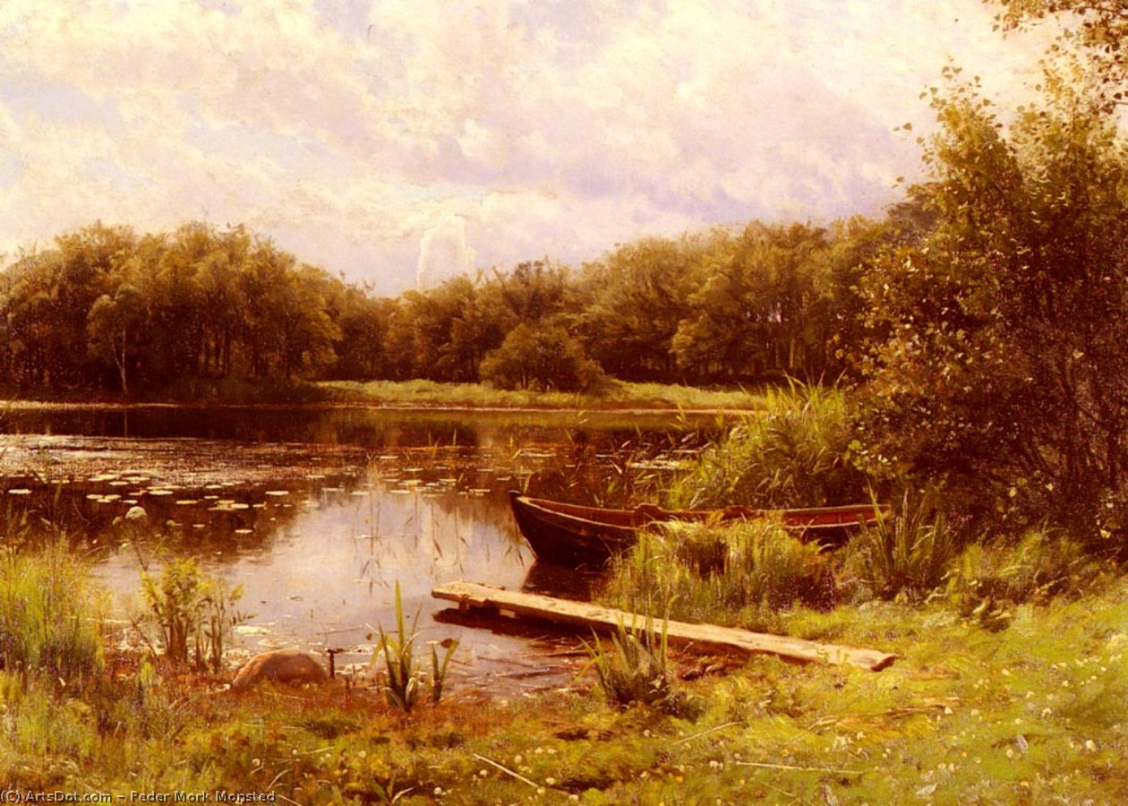 A Boat Moored On A Quiet Lake by Peder Mork Monsted (1859-1941, Denmark) | Paintings Reproductions Peder Mork Monsted | ArtsDot.com