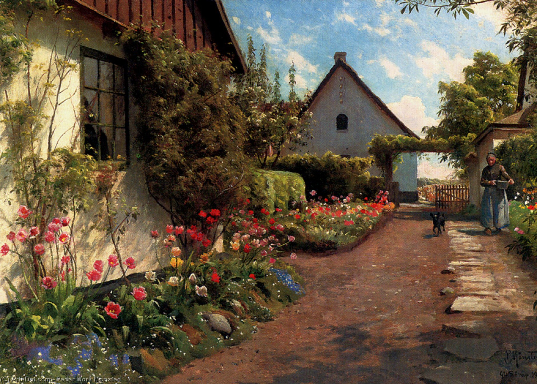 In The Garden by Peder Mork Monsted (1859-1941, Denmark) | Museum Quality Reproductions | ArtsDot.com