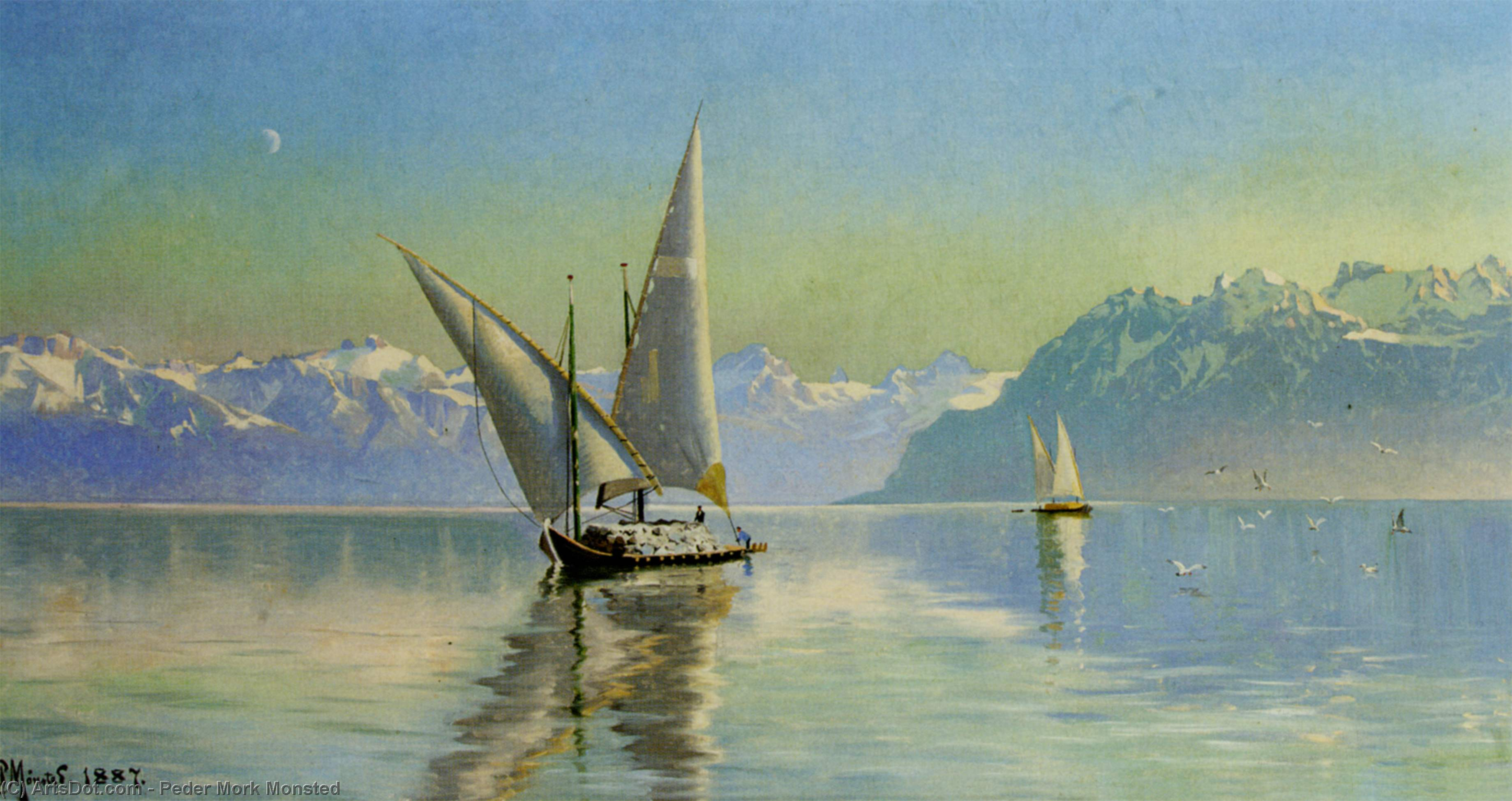 Udsigt Ved Geneve Soen, Schweiz, Oil by Peder Mork Monsted (1859-1941, Denmark)