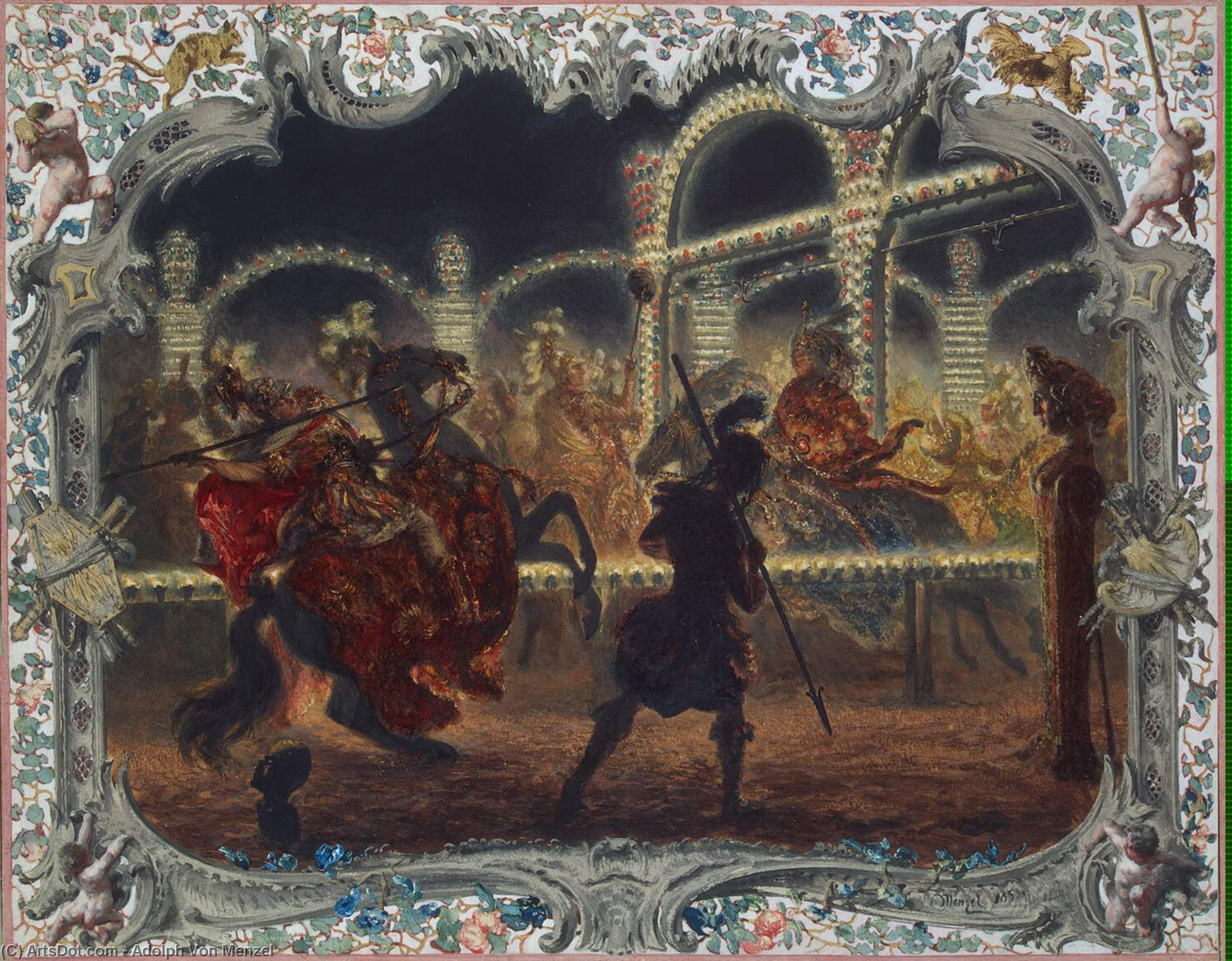 Night Carrousel under the Leadership of Frederick the Great in 1750, Drawing by Adolph Menzel (1815-1905, Poland)