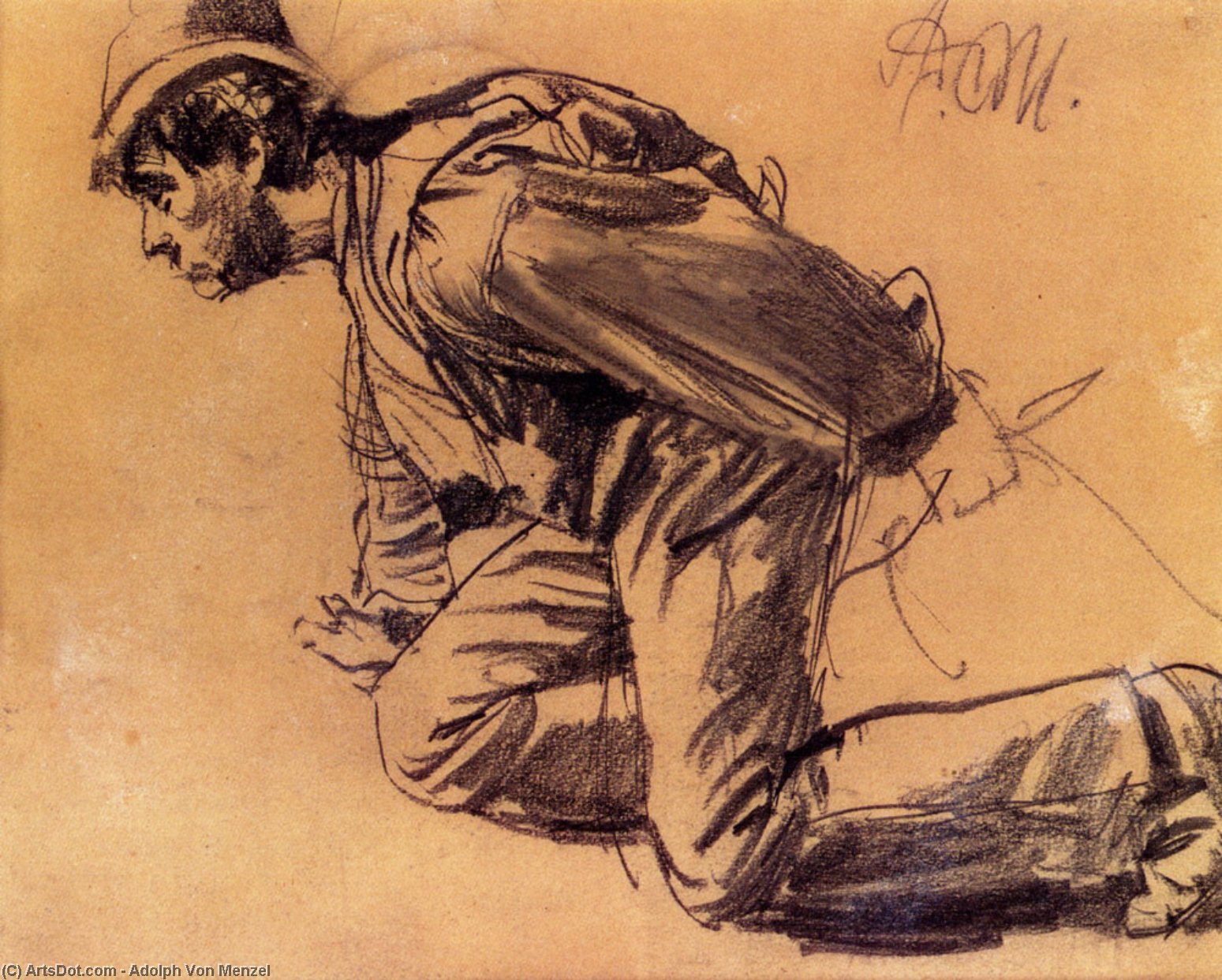Study Of A Laboror, Drawing by Adolph Menzel (1815-1905, Poland)