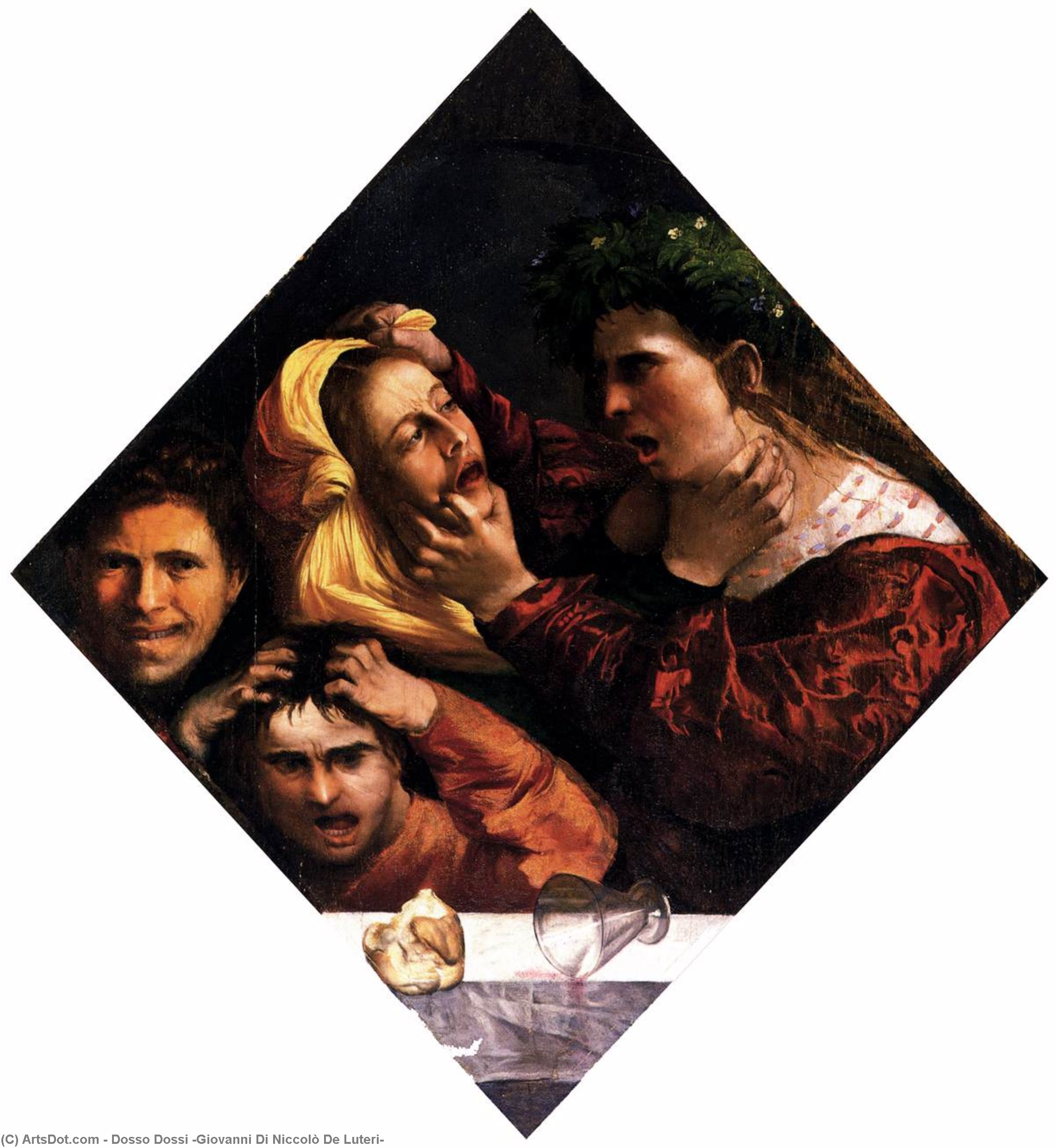 Anger or the Tussle, Drawing by Dosso Dossi  (order Fine Art hand made painting Dosso Dossi (Giovanni Di Niccolò De Luteri))