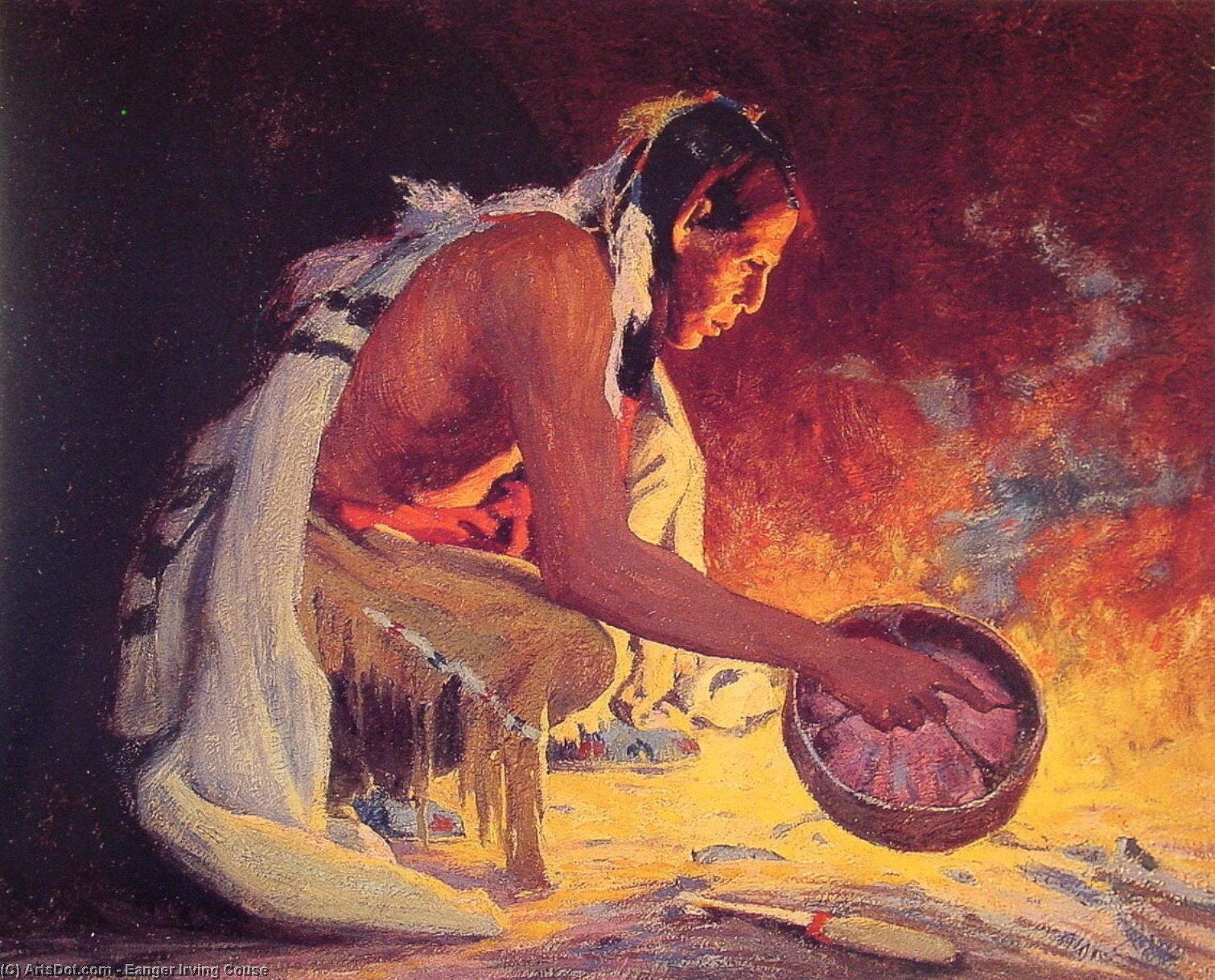 Indian by Firelight, Drawing by Eanger Irving Couse (1866-1936, United States)