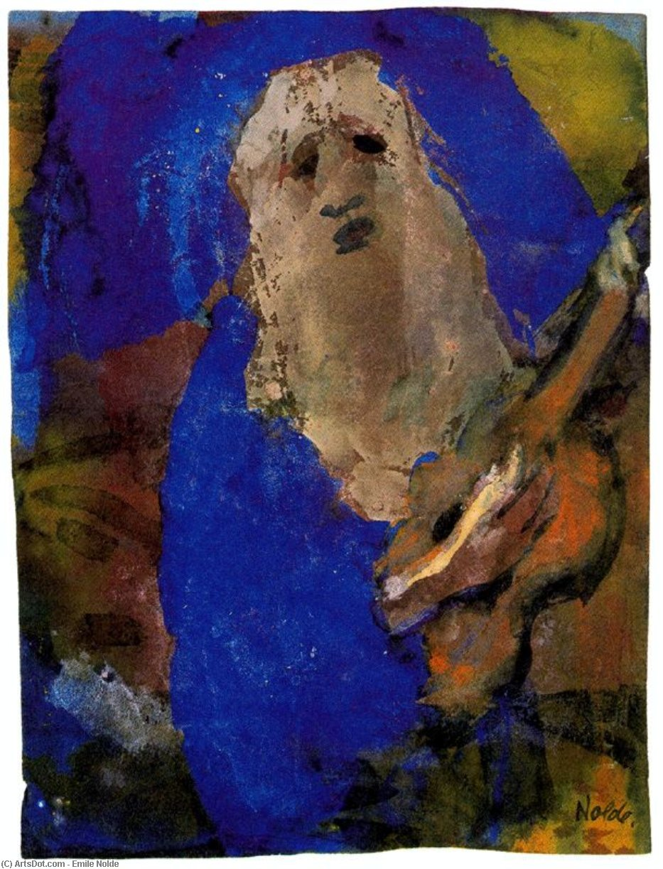 Hoary Old Man Singing by Emile Nolde (1867-1956, Germany)