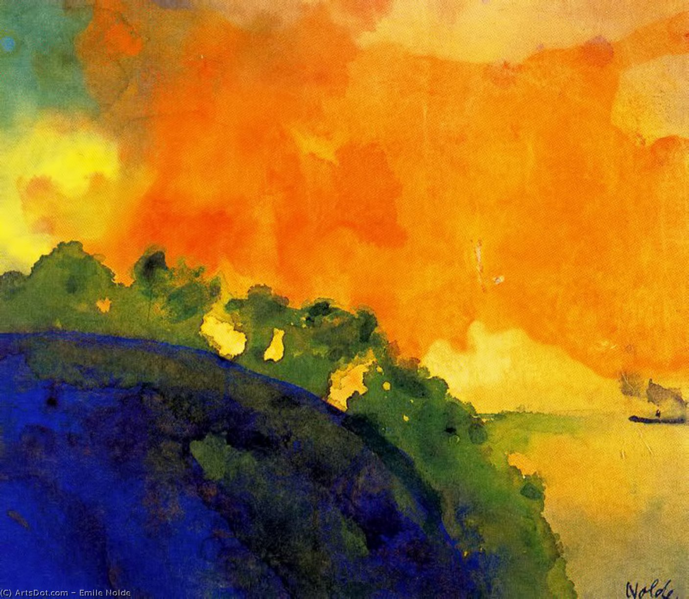 Mountain Slope over the Sea by Emile Nolde (1867-1956, Germany)