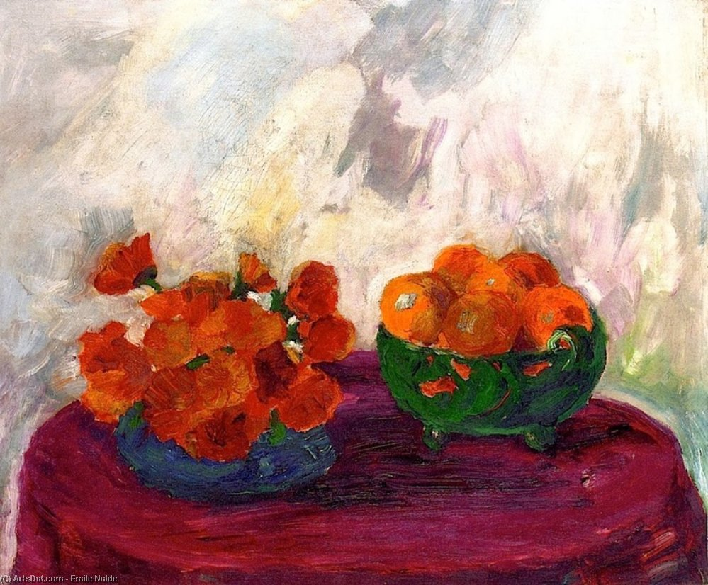 Still Life (orange and yellow flowers) by Emile Nolde (1867-1956, Germany) | Art Reproduction | ArtsDot.com