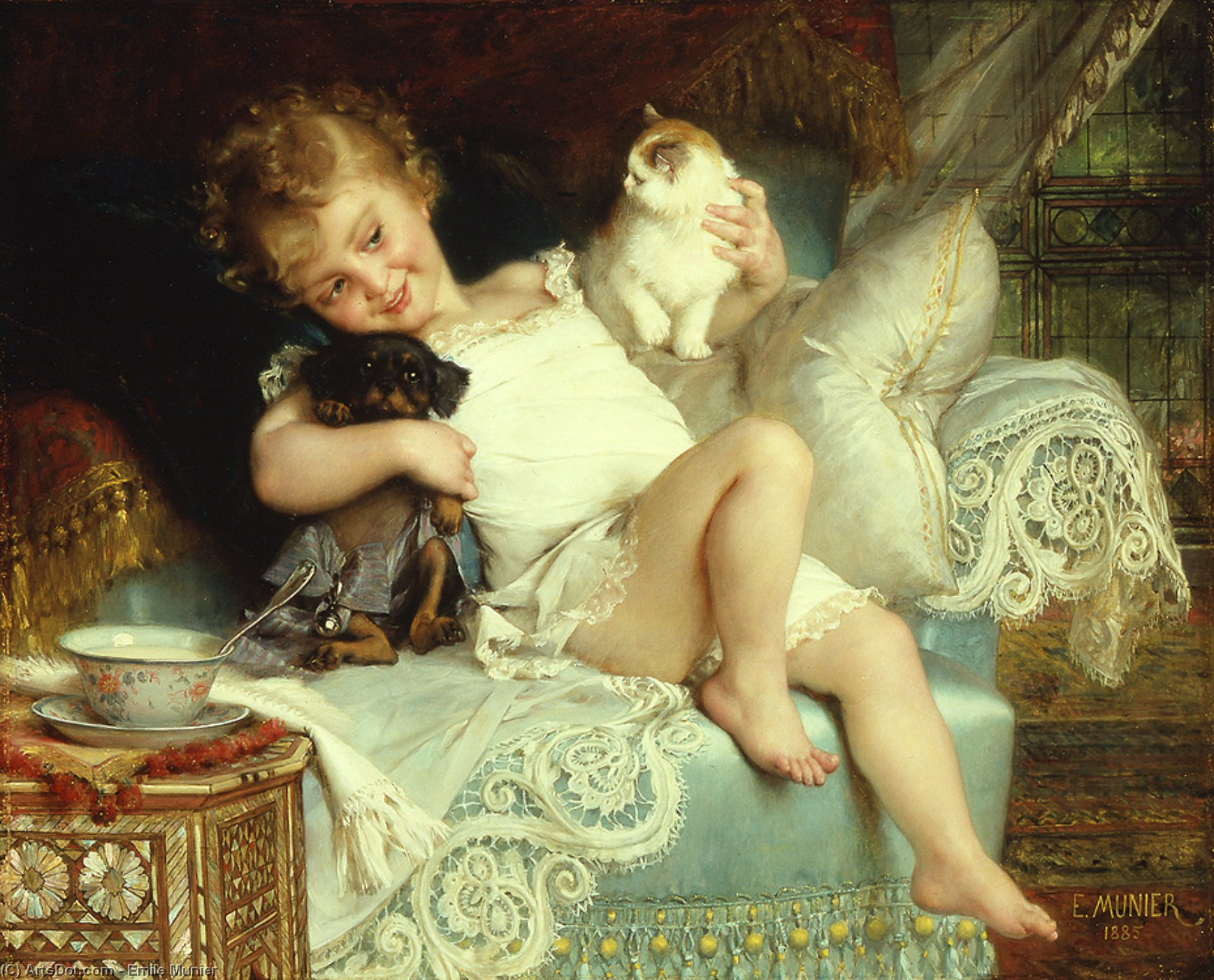 Three friends by Emile Munier (1840-1895, France) | Museum Quality Reproductions | ArtsDot.com
