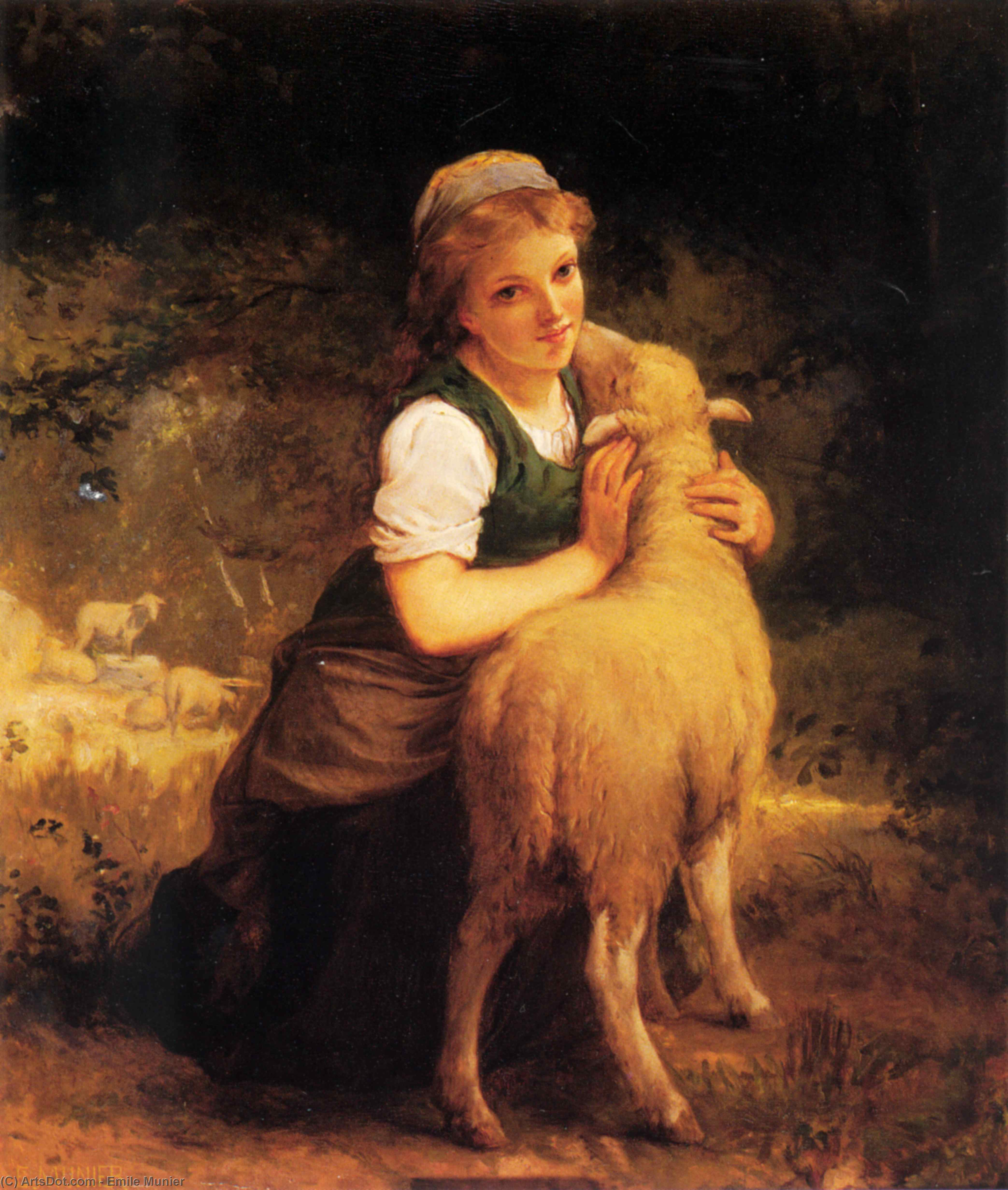 Young Girl with Lamb by Emile Munier (1840-1895, France)