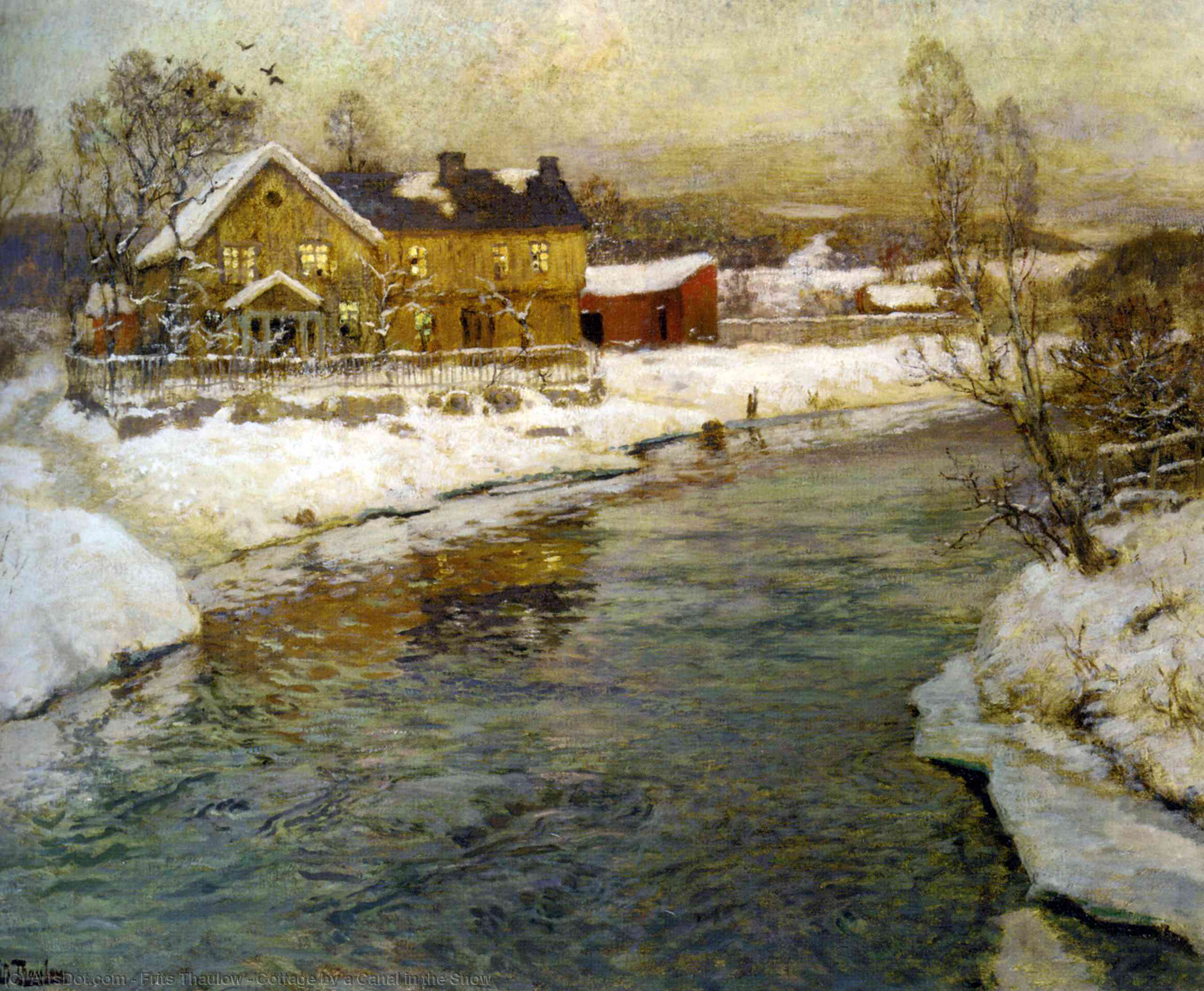 Cottage by a Canal in the Snow by Frits Thaulow (1847-1906, Norway) | Painting Copy | ArtsDot.com