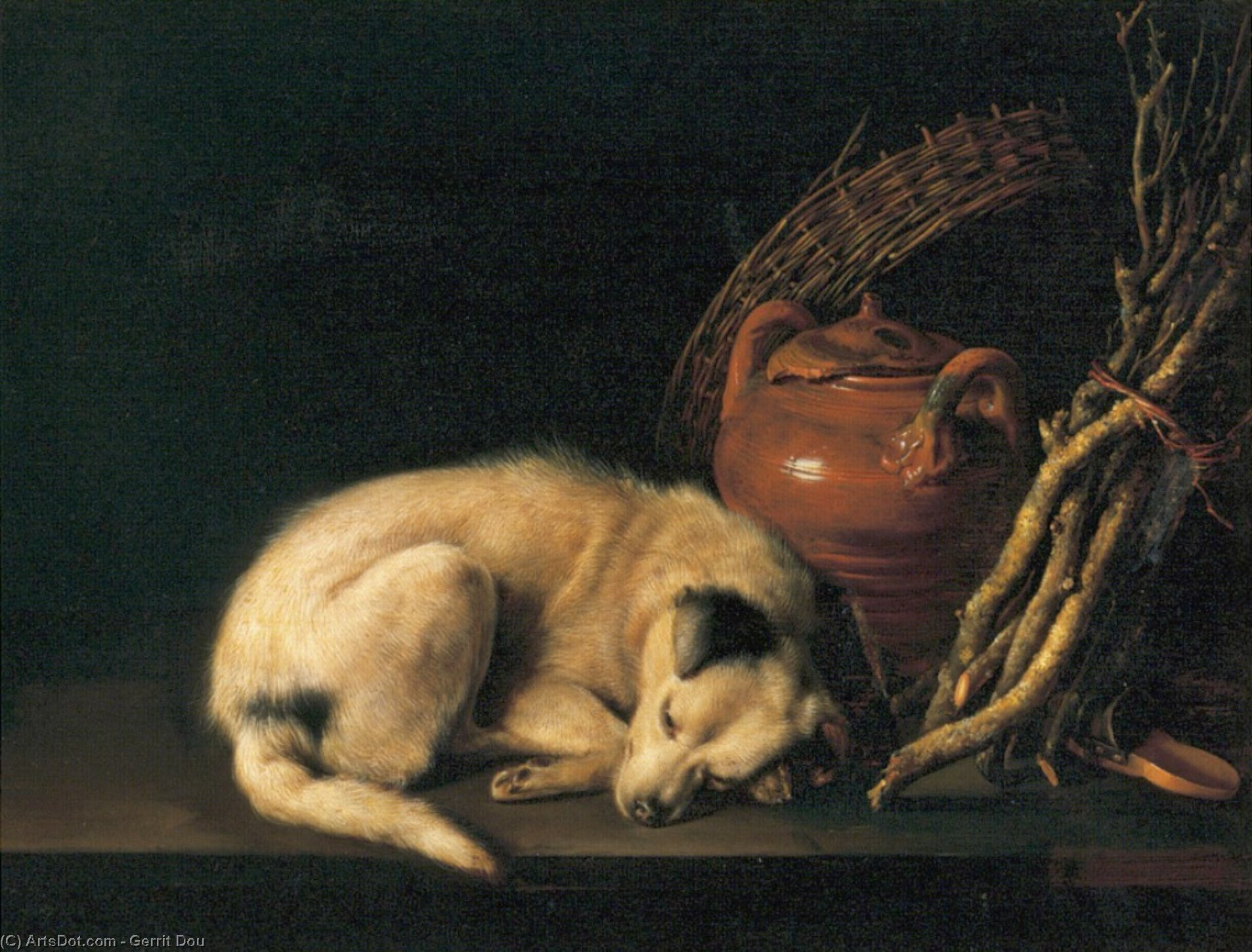Sleeping Dog with Terracotta Jug, Basket and Kindling Wood by Gerrit (Gérard) Dou (1613-1675, Netherlands)