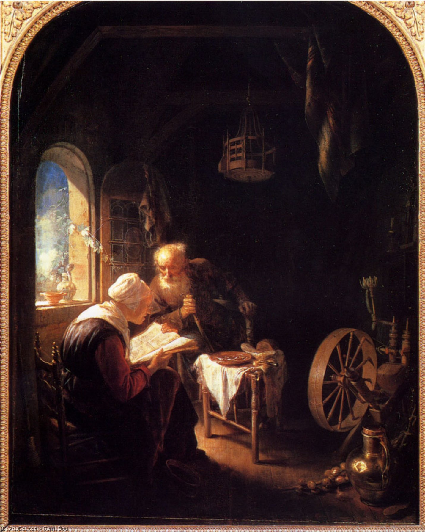 The Bible Lesson, Or Anne And Tobias by Gerrit Dou (1613-1675, Netherlands)
