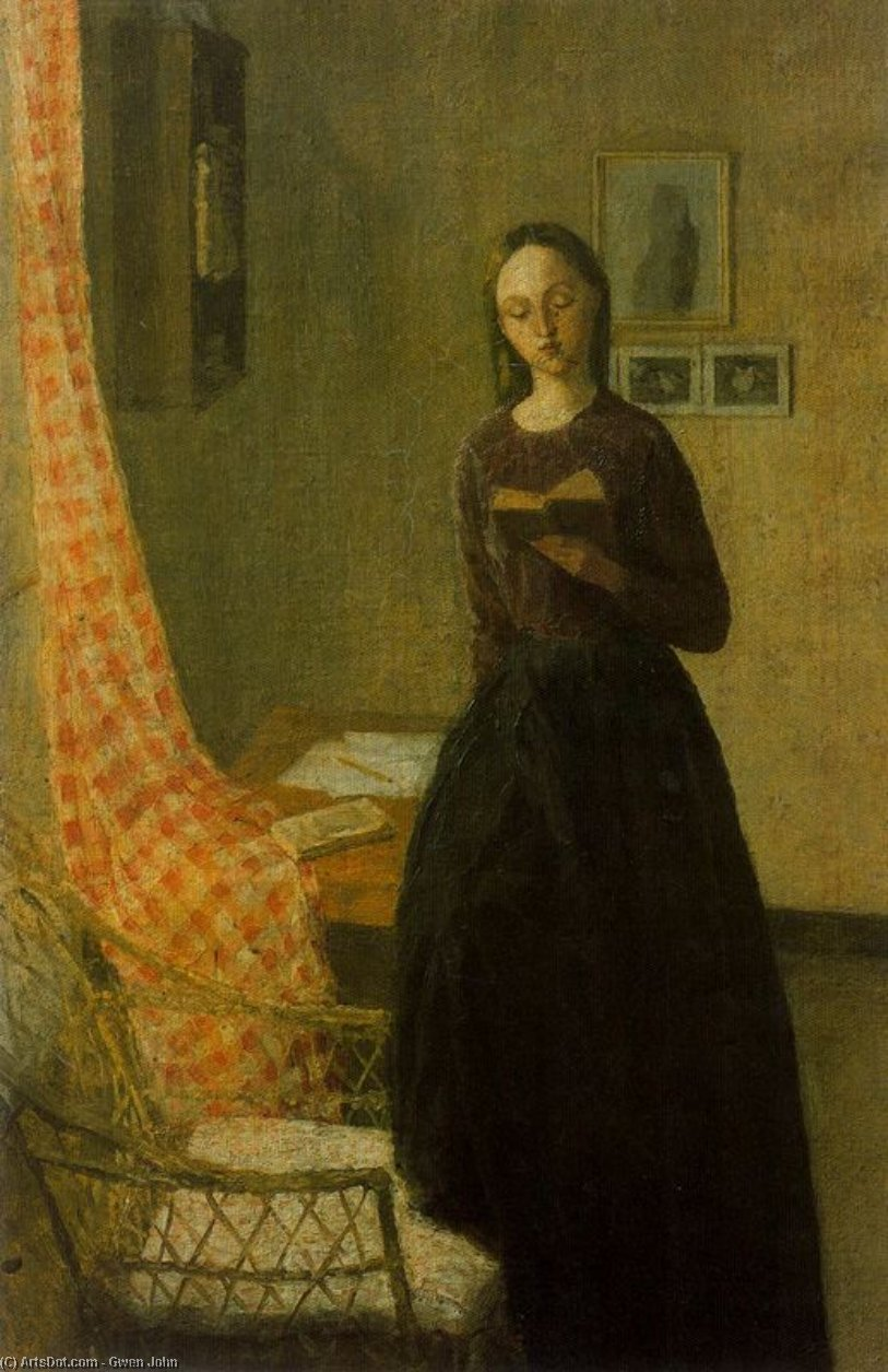 A Lady Reading by Gwen John (1876-1939, United States) | Oil Painting | ArtsDot.com