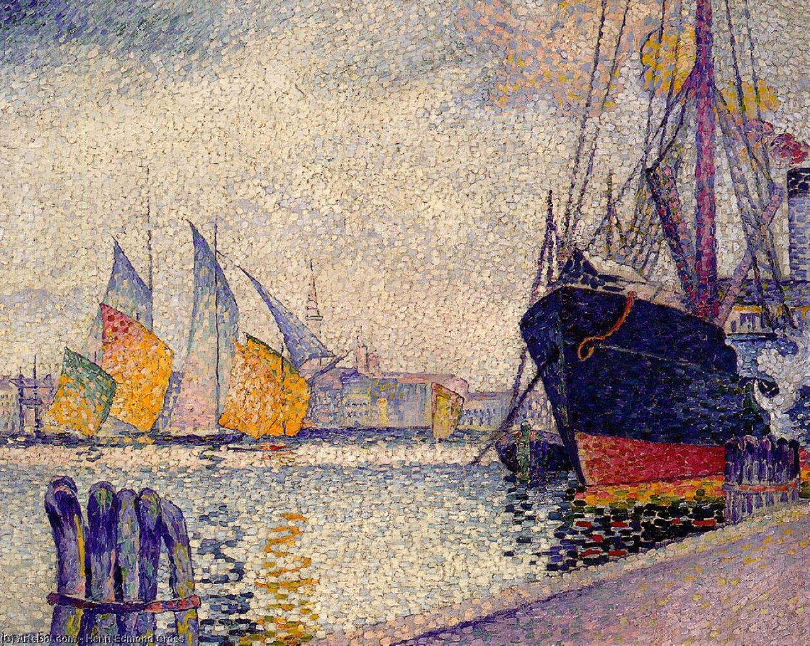 Canal de la Guidecca, Venice, Oil On Canvas by Henri Edmond Cross (1856-1910, France)