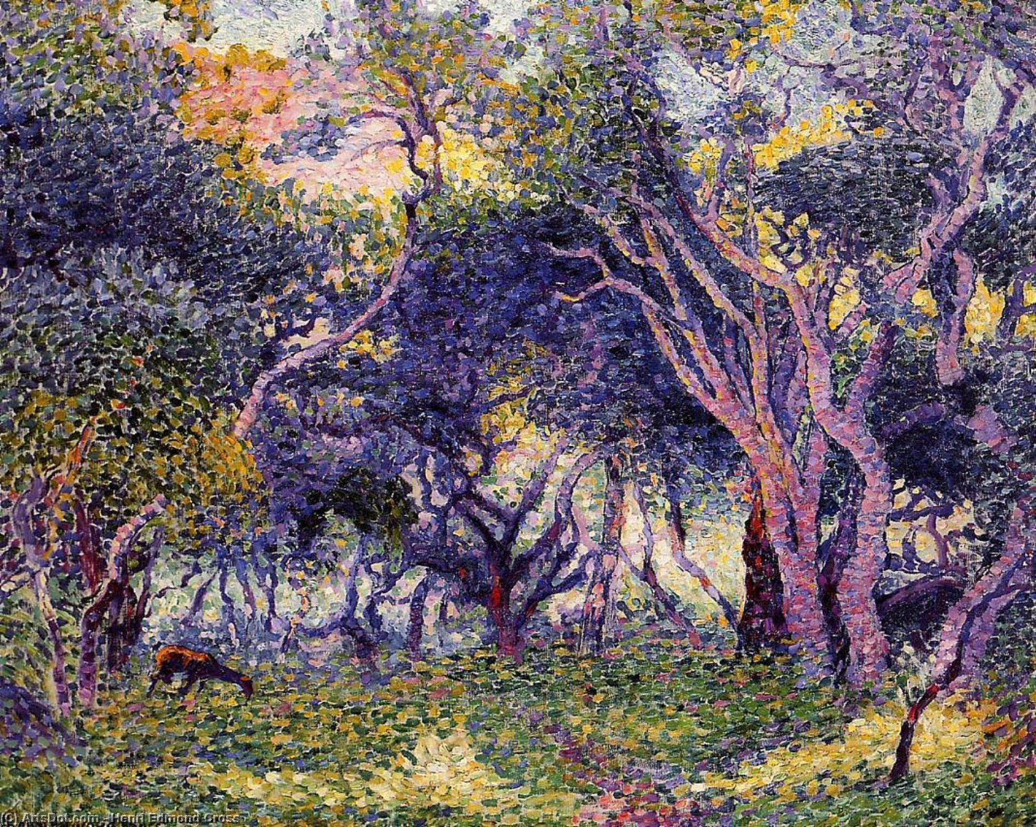 In the Woods, Oil On Canvas by Henri Edmond Cross (1856-1910, France)